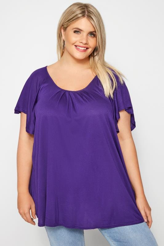 Plus Size Jersey Tops SIZE UP Purple Angel Sleeve Jersey Top