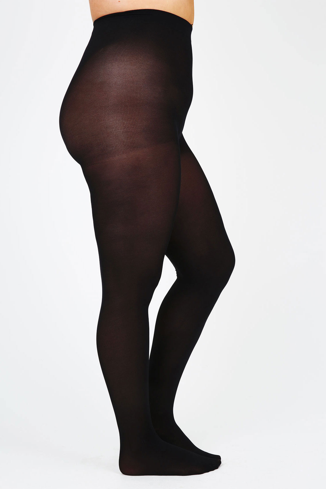 These tights are black opaque to right above the knee where the sheer upper thigh area begins. At the divide, there is a silhouetted dinosaur design that wraps around your leg. One size fits.