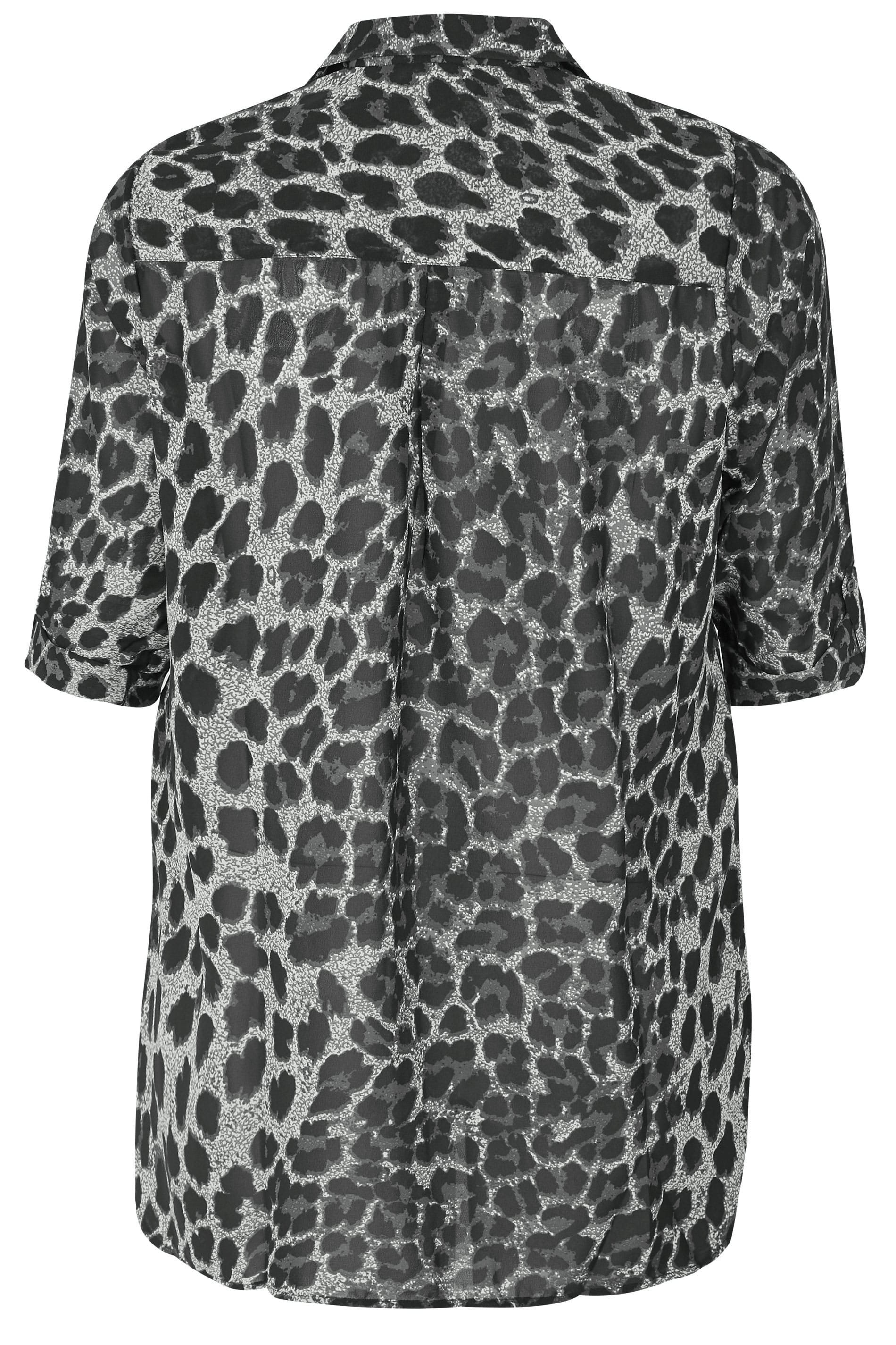 a84c1fb0613 Hover over the images above to enlarge. Black Animal Print Chiffon Shirt. Black  Animal Print Chiffon Shirt
