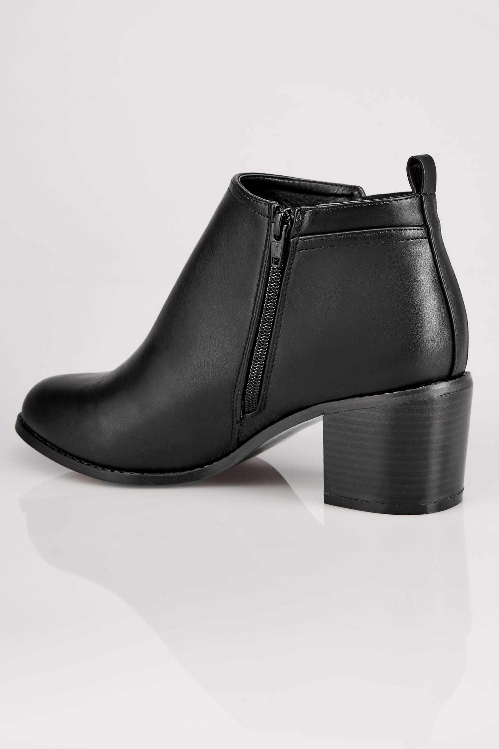 block letter s black ankle boots with block heel amp side zips in true eee 2265