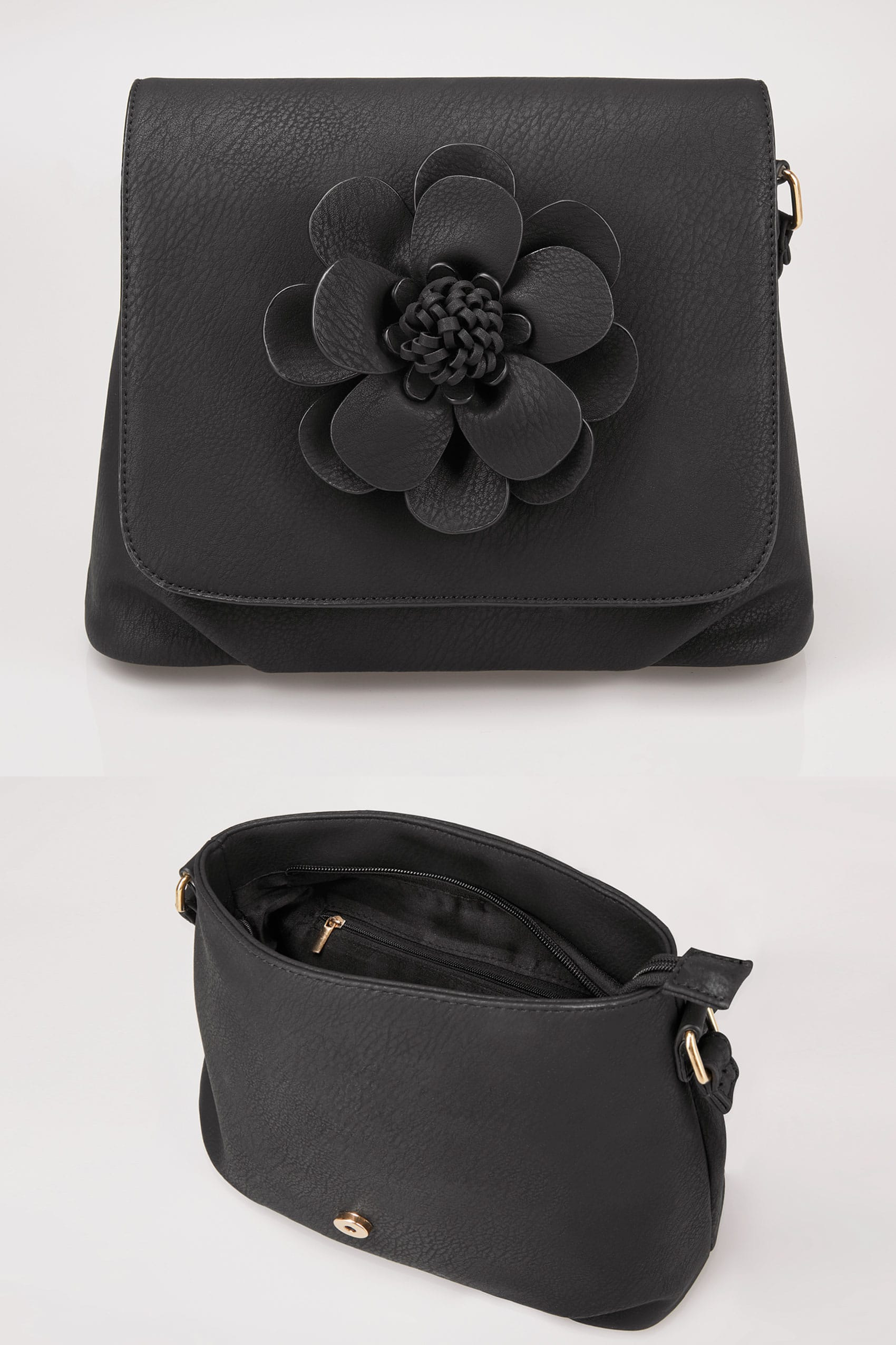 Black applique flower cross body bag for Supermarket bag packing letter template