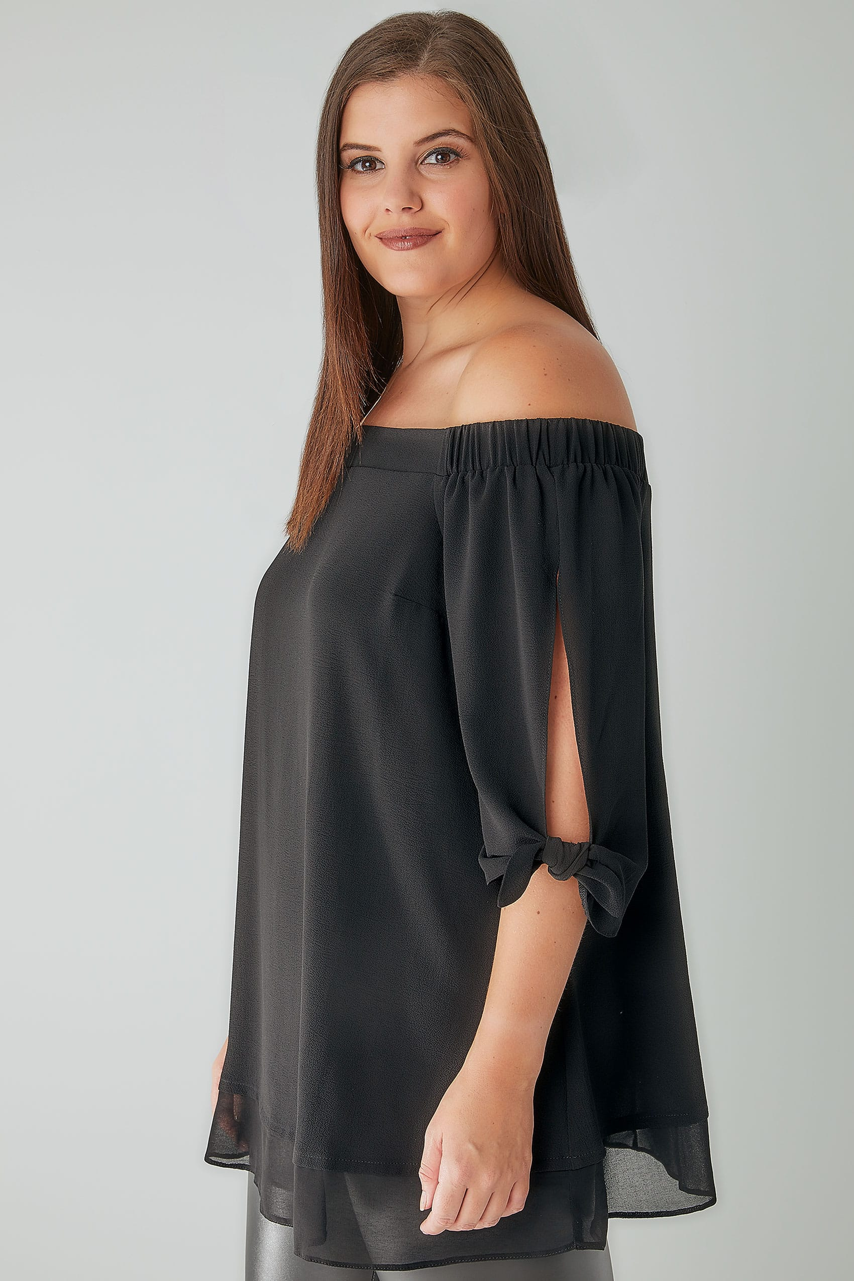 black bardot layered hem swing top with open tie detail sleeve plus size 16 to 36. Black Bedroom Furniture Sets. Home Design Ideas