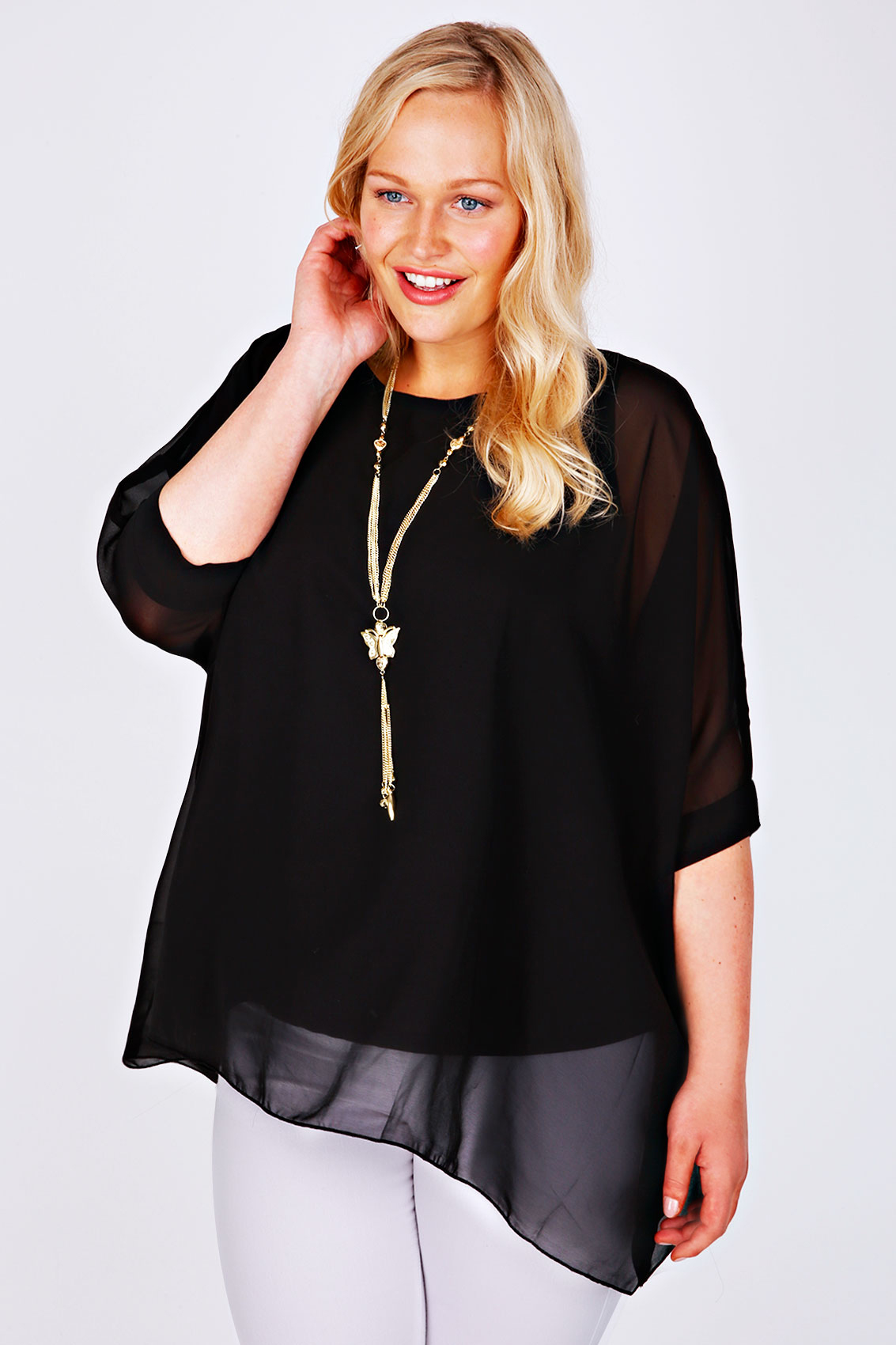 Black chiffon top plus size