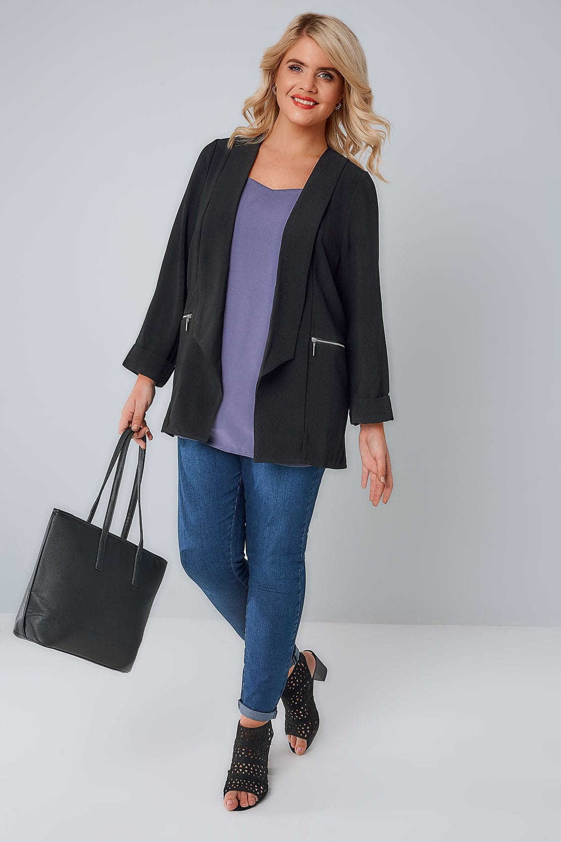 Black Bubble Crepe Blazer Jacket With Zip Pockets Plus
