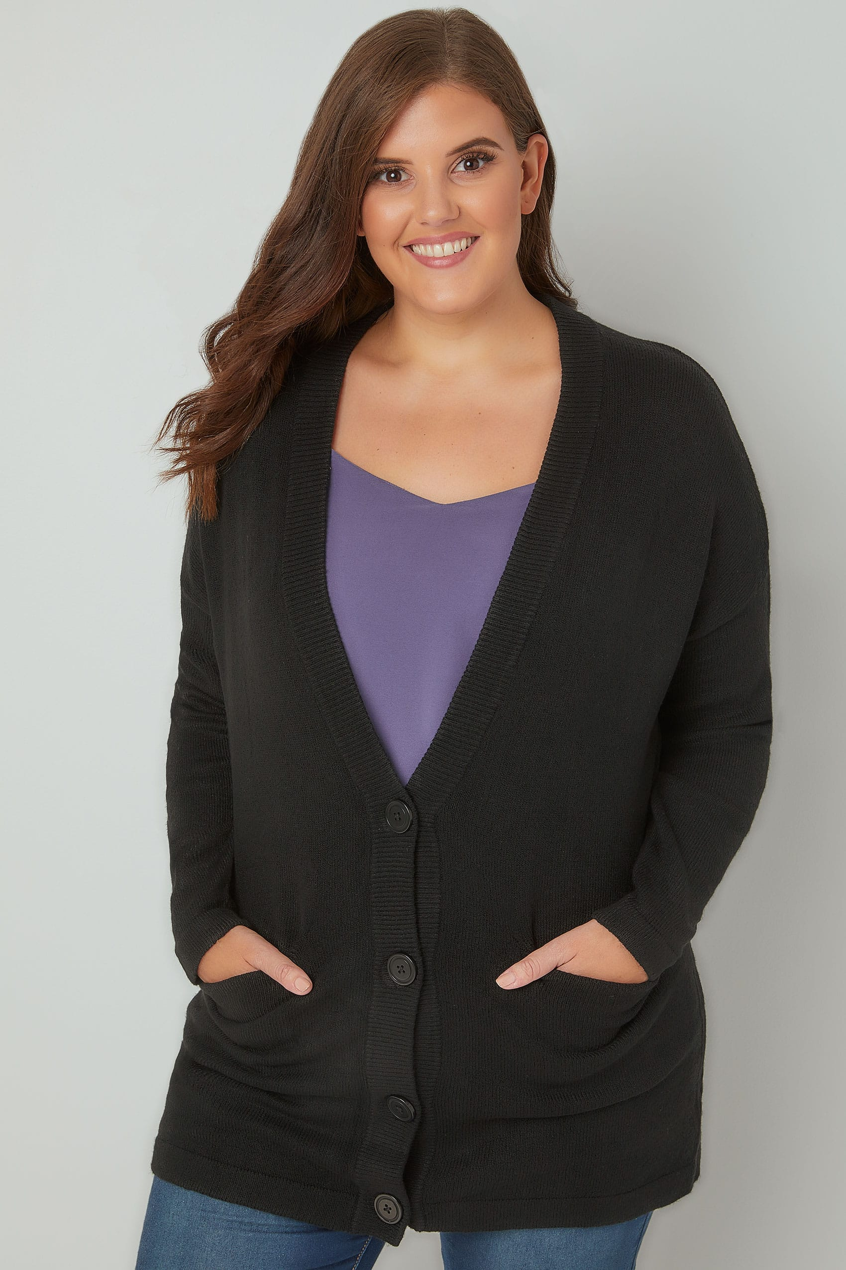 Black Button Up Cardigan With Two Pockets, Plus size 16 to 36