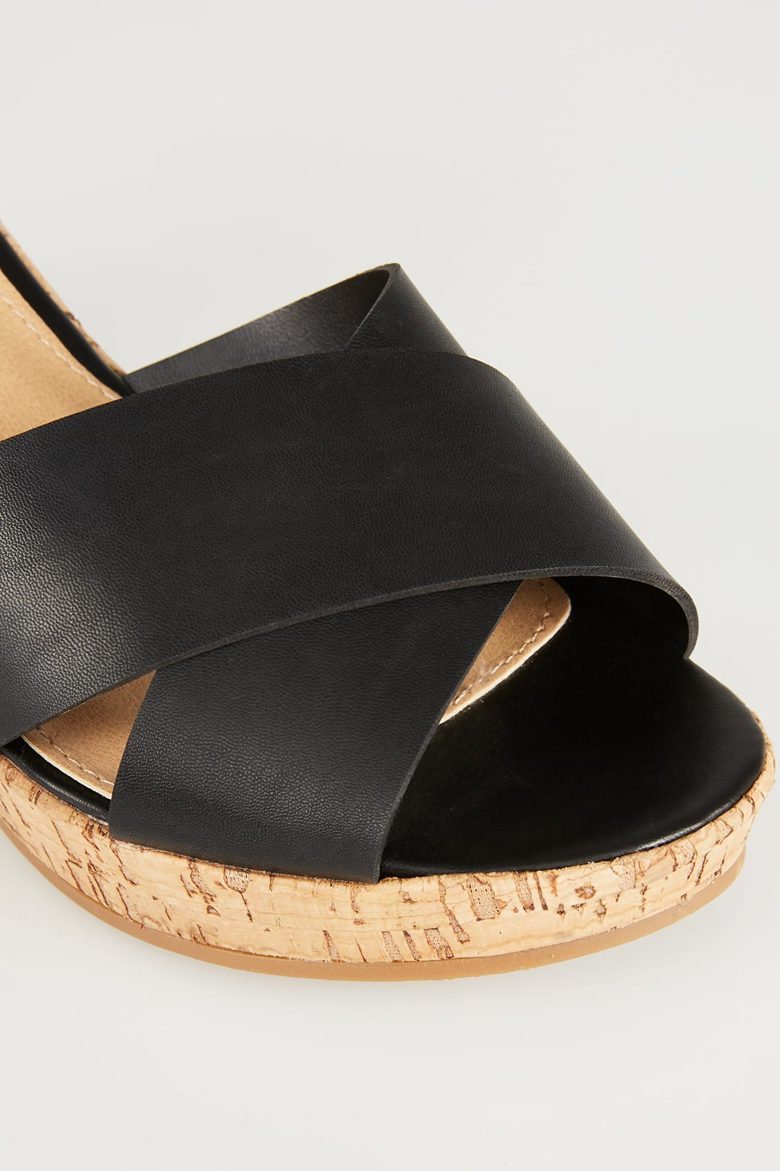Rooms: Black Crossover Cork Wedge Sandals In EEE Fit