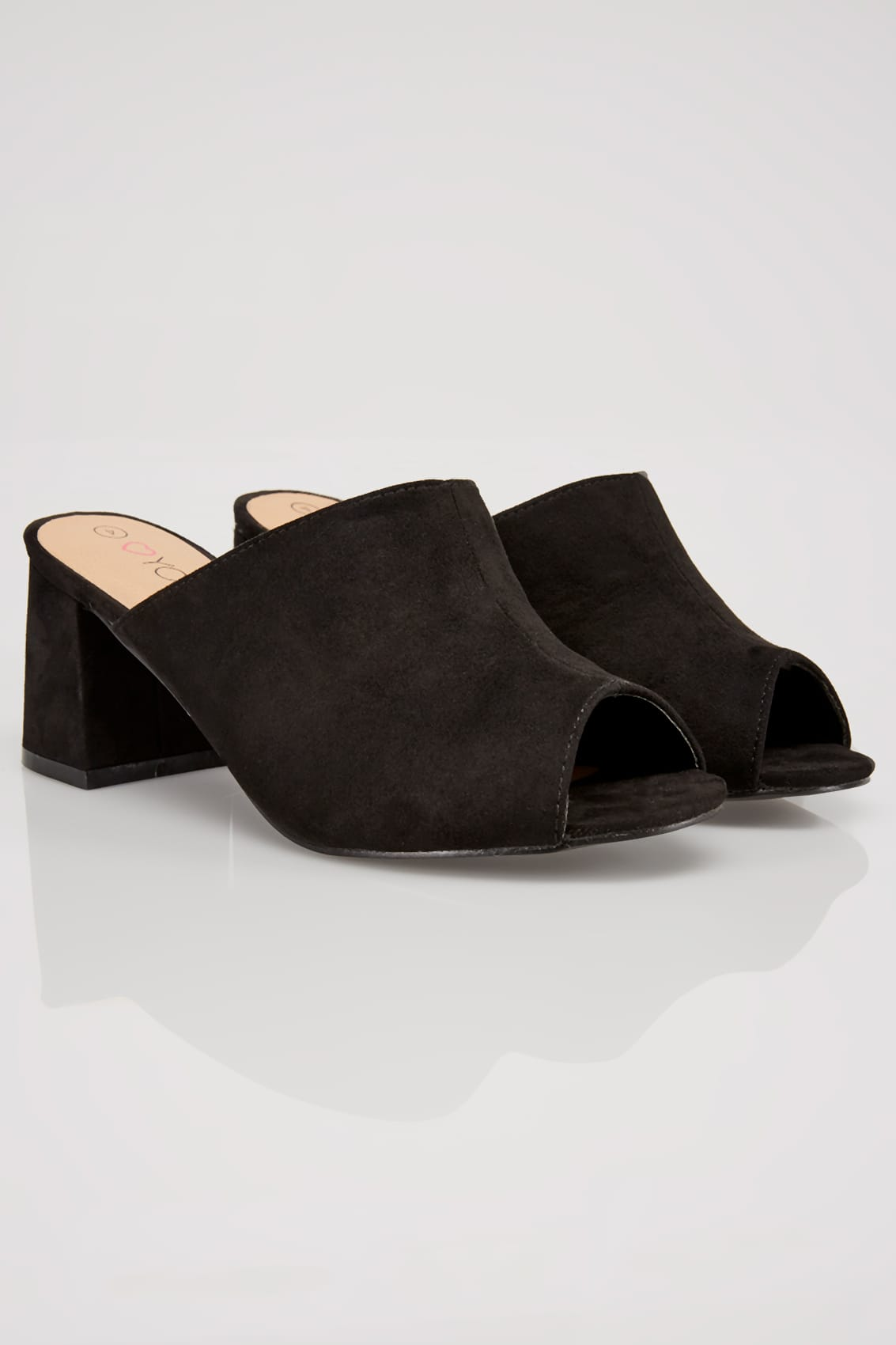 Rooms: Black Mule Heeled Sandals In EEE Fit