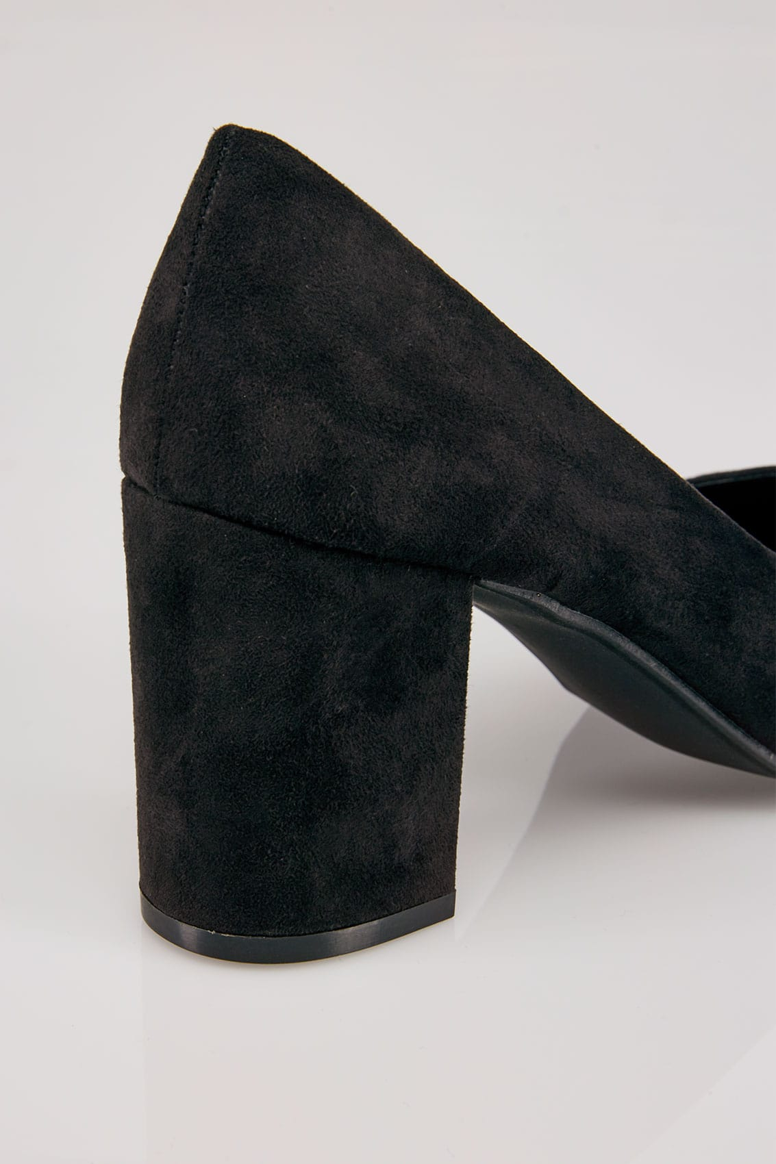 Black Faux Suede Court Shoes In E Fit-7081