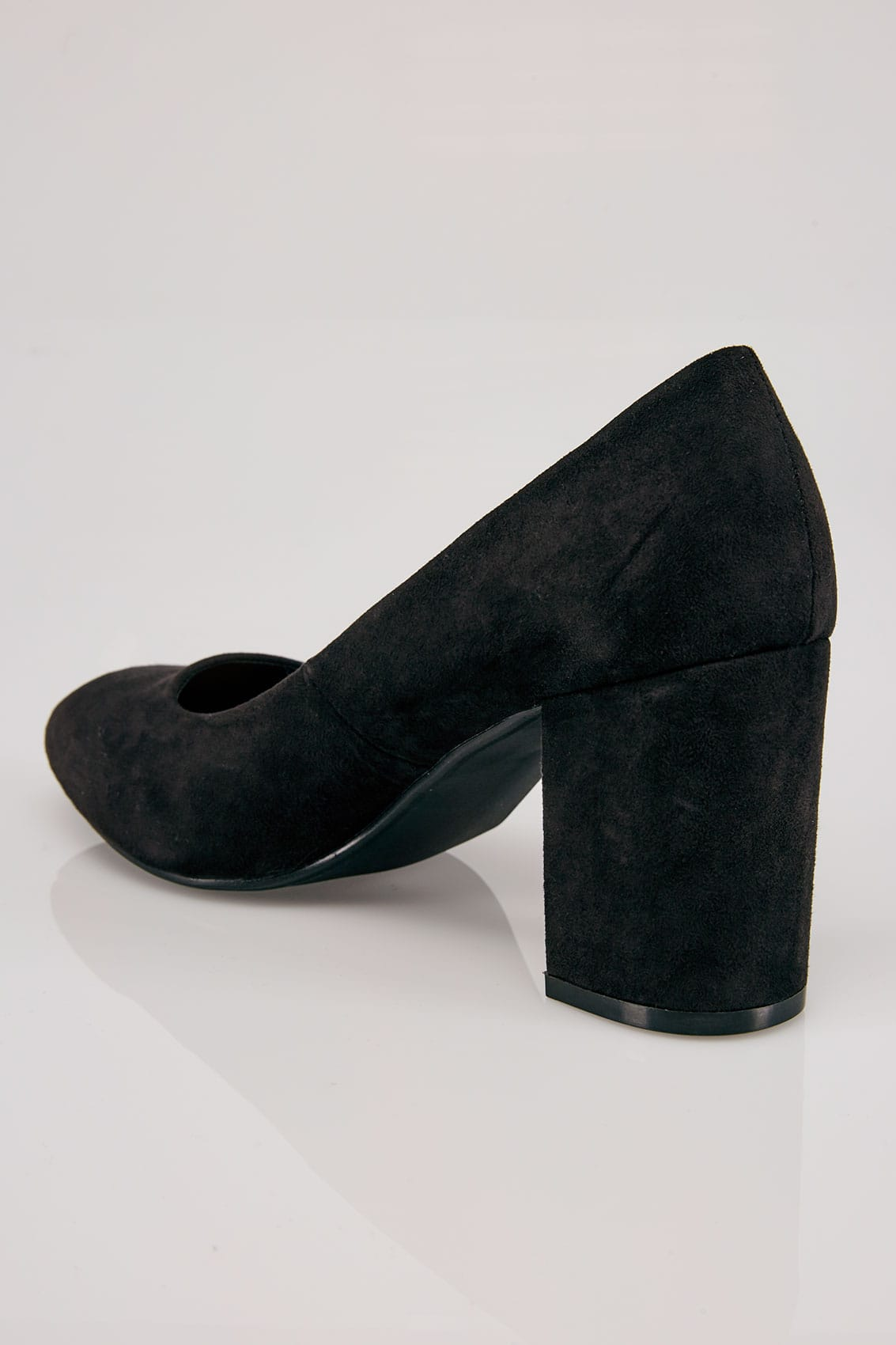 Black Faux Suede Court Shoes In E Fit-7901