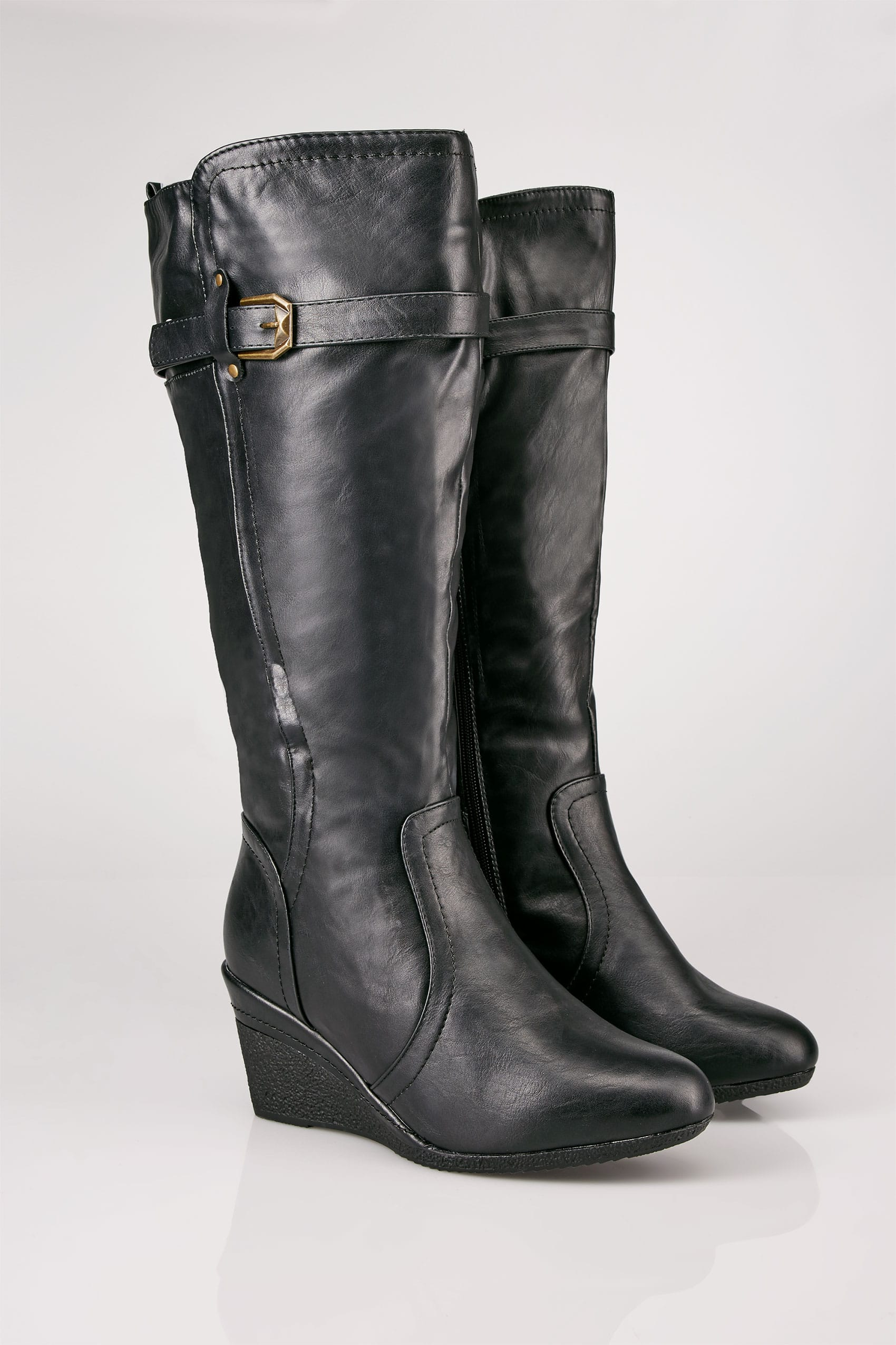 Plus Size Wide Calf Boots Black Calf Length Boots With Wedge Heel & Buckle  Details In · Basket Buy