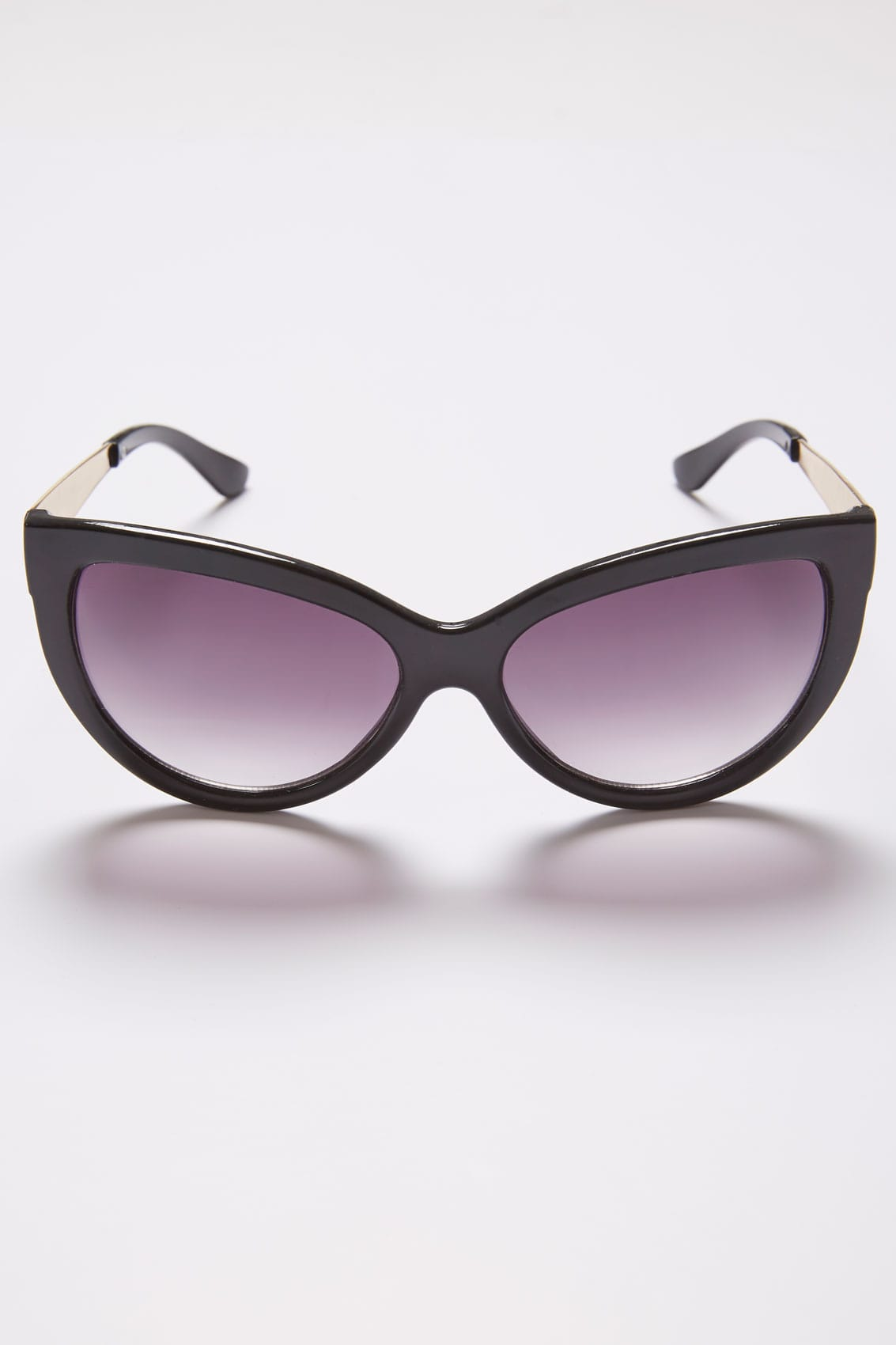 Black Cat Eye Sunglasses With Gold Tone Arms With Uv 400