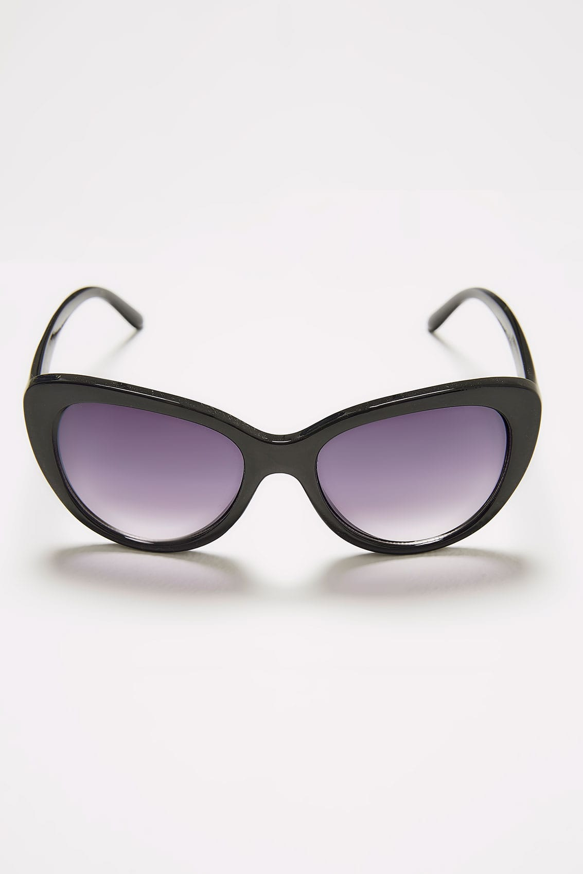 Uv Protection Metallic Cat Eye Sunglasses Double Black