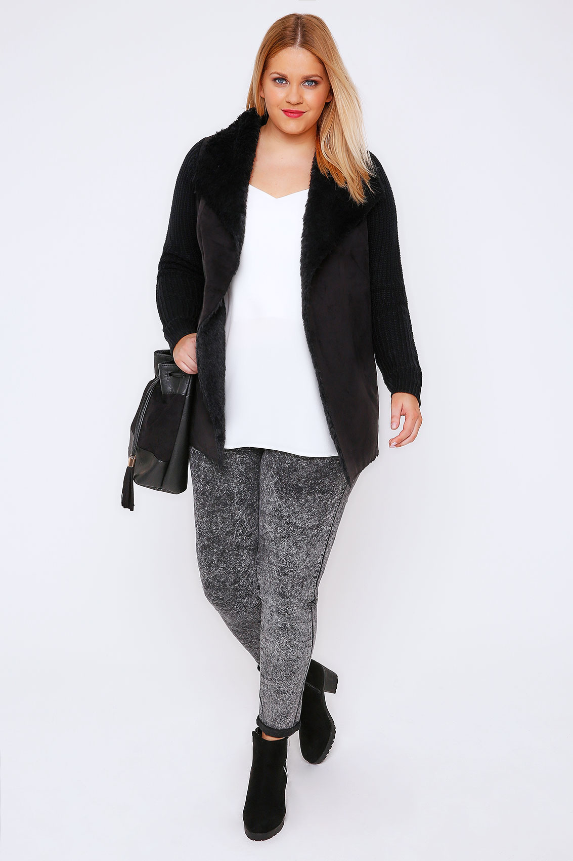 Black Chunky Knit Cardigan With Shearling Collar Plus Size 16 to 32