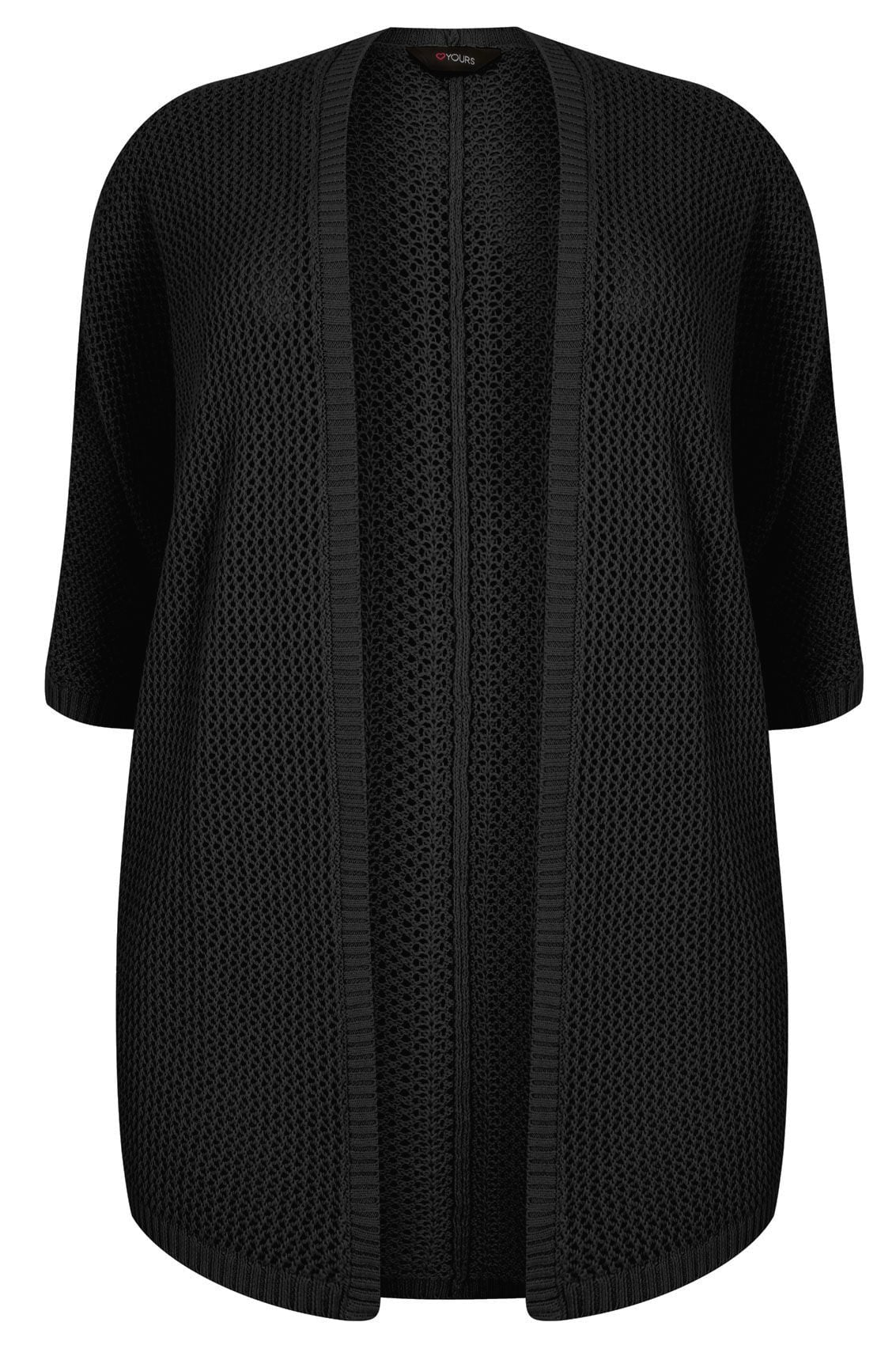 Black Open Knit Cocoon Cardigan With Half Sleeves, Plus size 16 to 36