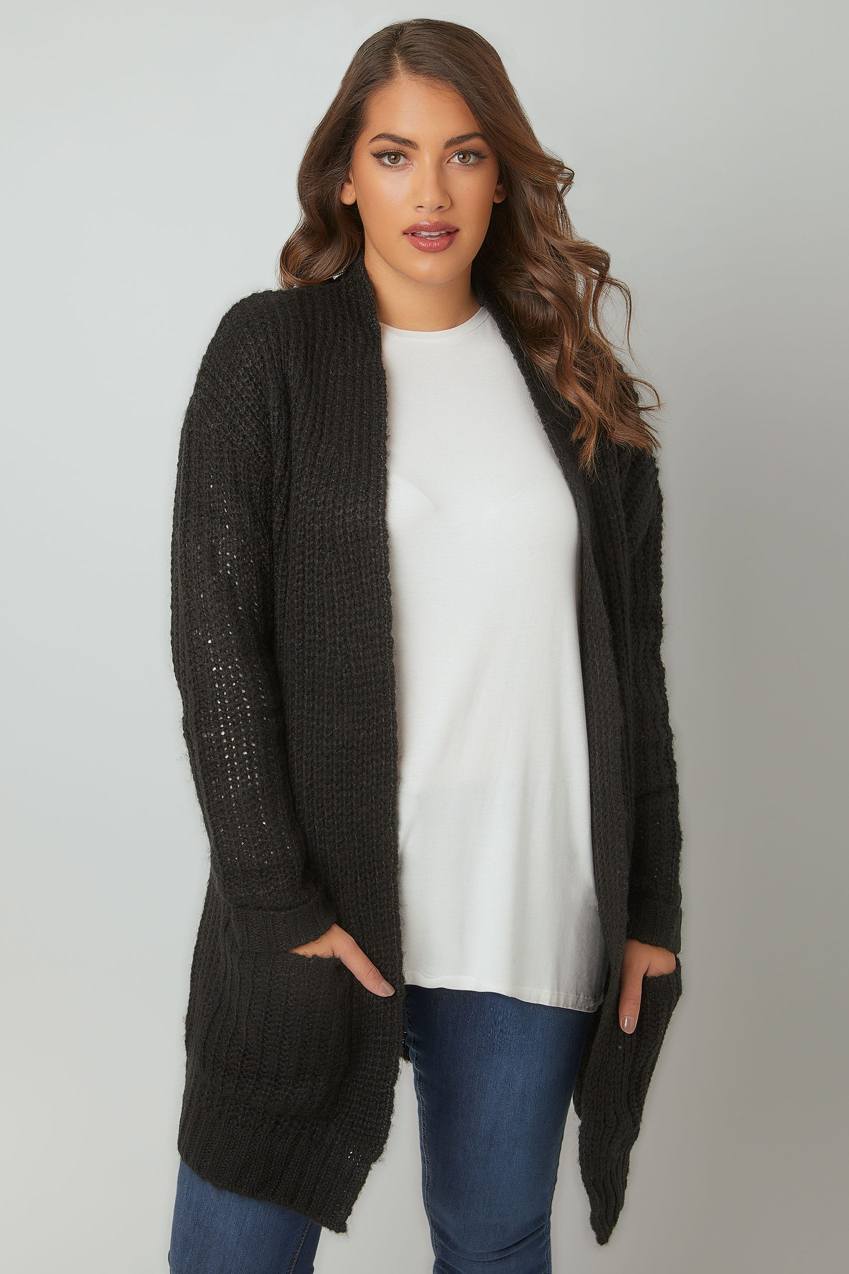 Black Chunky Knit Longline Cardigan, Plus size 16 to 36