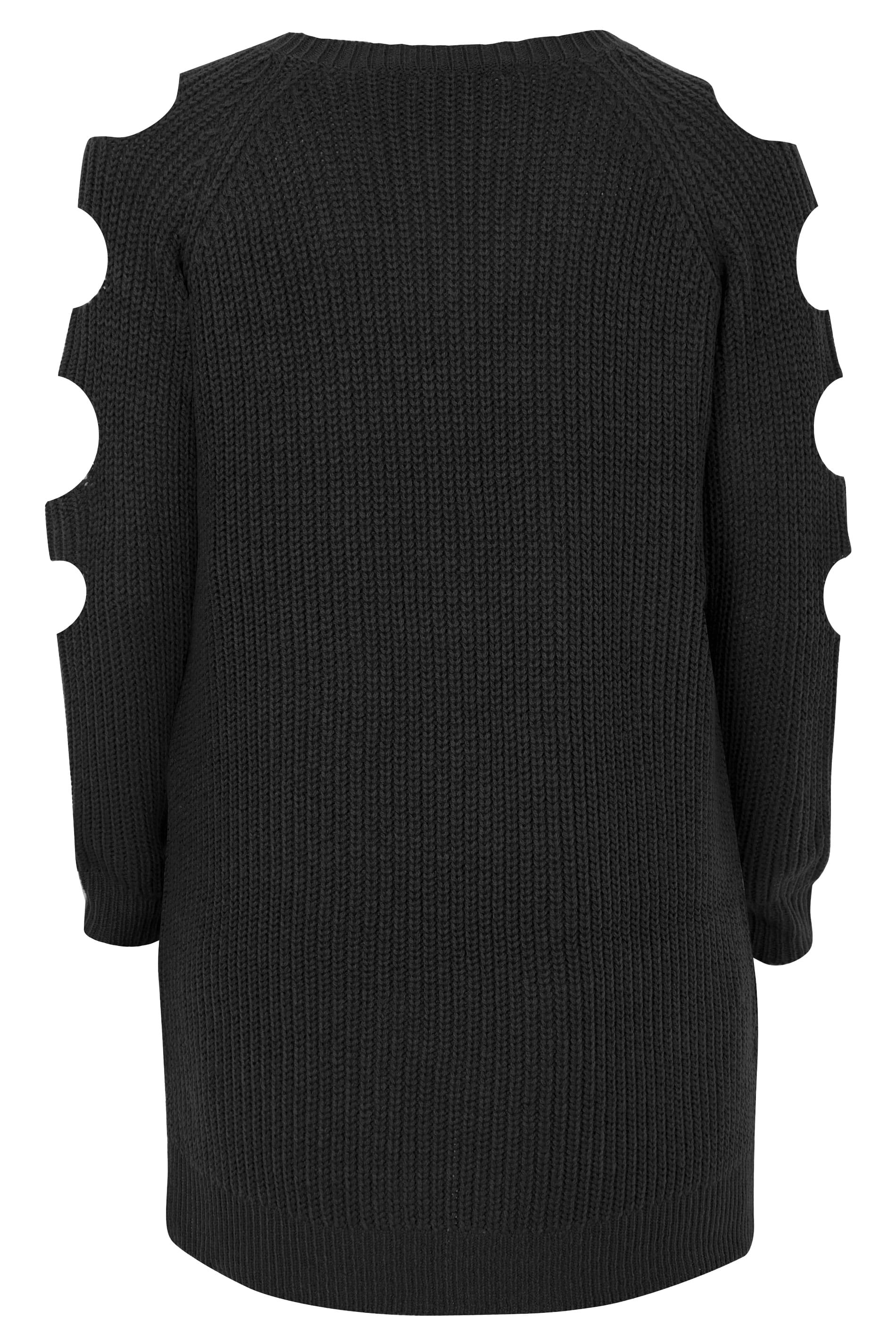 aa6b3fffd2f Black Chunky Knit Longline Jumper With Cut Out Sleeves