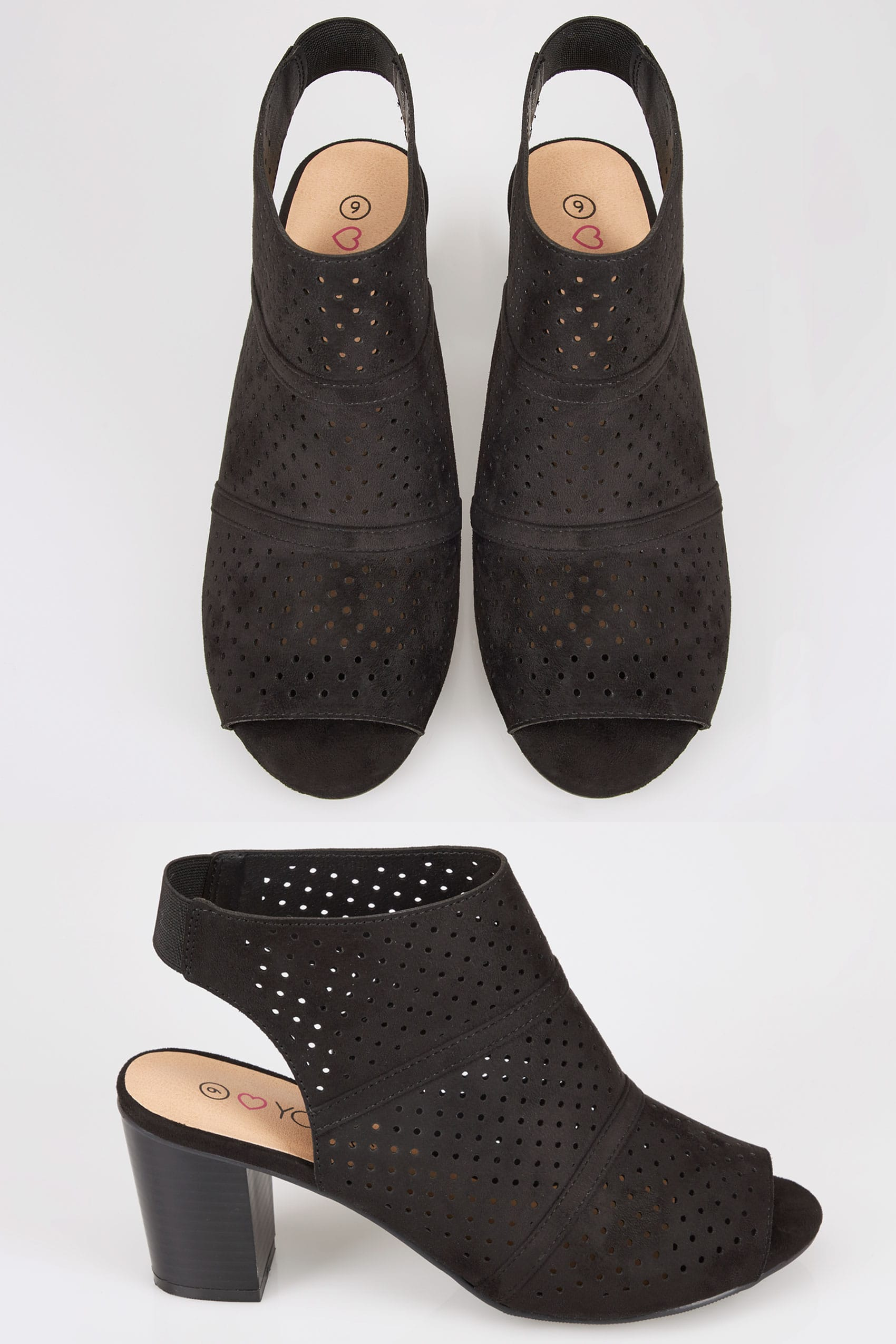 Black Laser Cut Sandals With Block Heel In Eee Fit