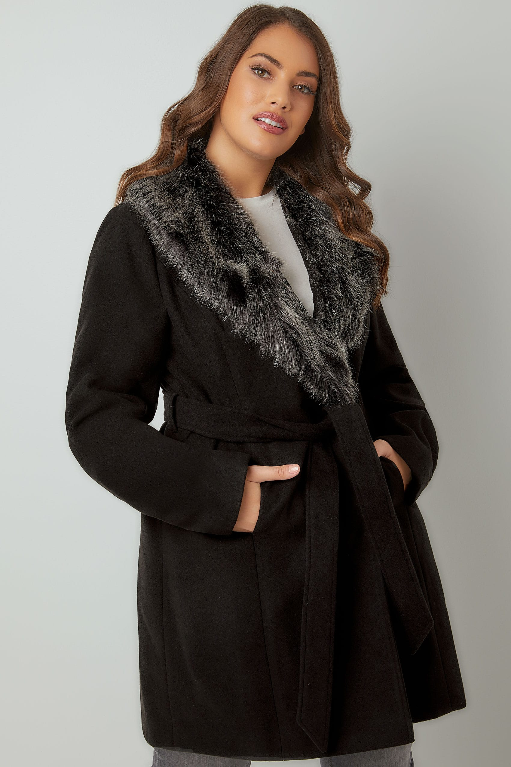 Black Coat With Faux Fur Collar & Tie Waist, Plus size 16 to 36