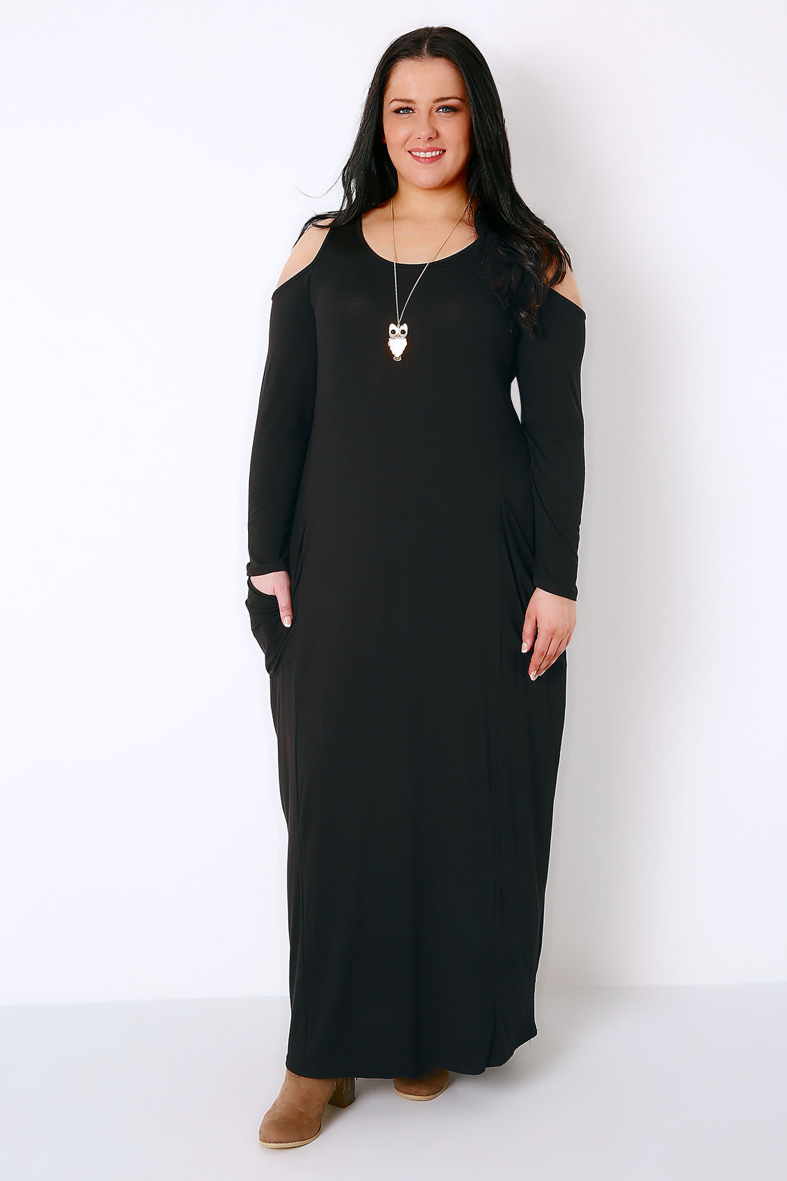 black cold shoulder maxi dress with long sleeves amp drop