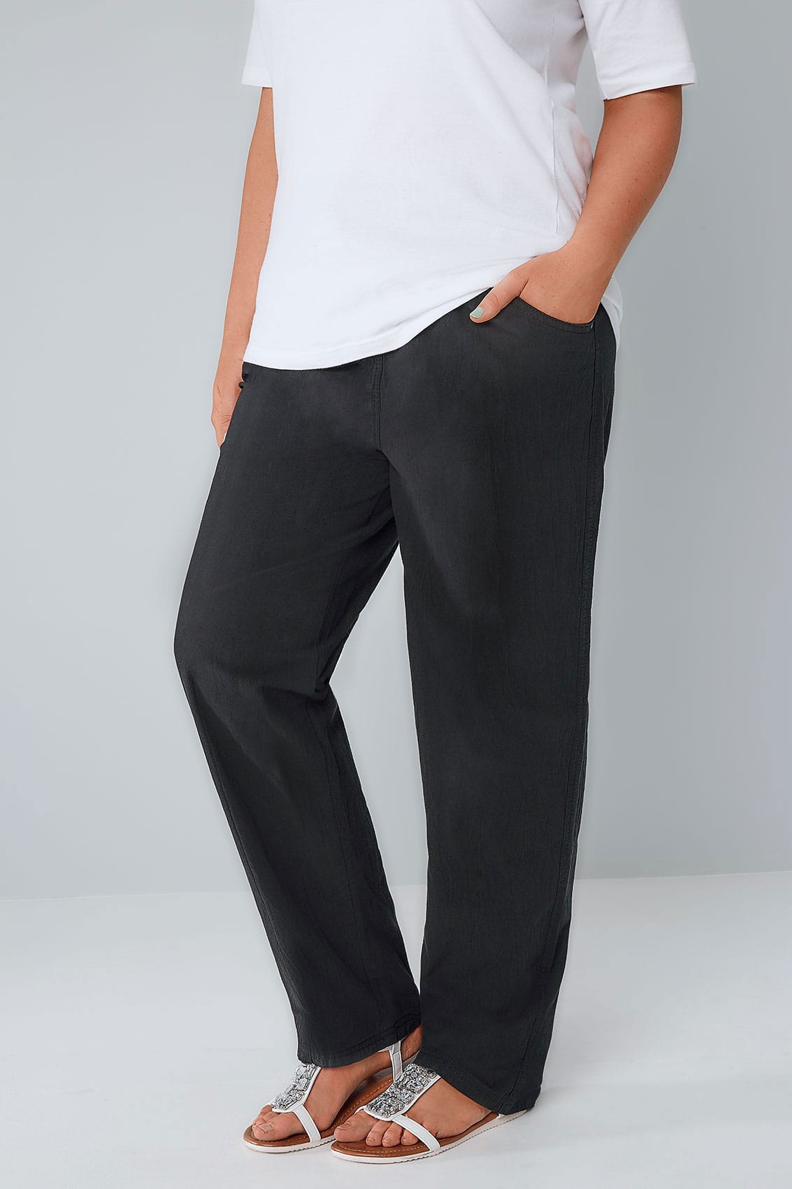 Black Cool Cotton Pull On Wide Leg Trousers With Pockets -4468