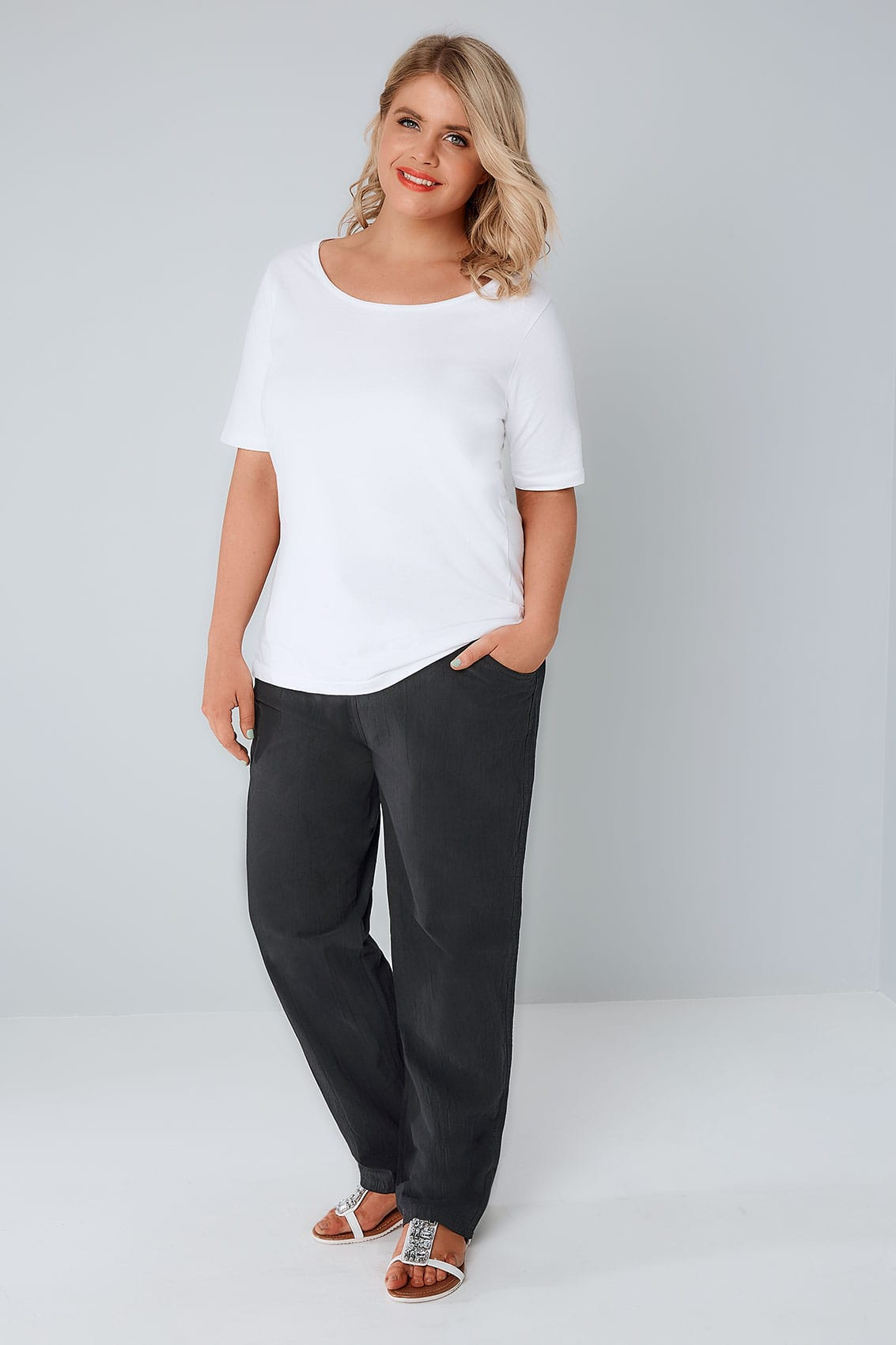 Black Cool Cotton Pull On Wide Leg Trousers With Pockets -5956
