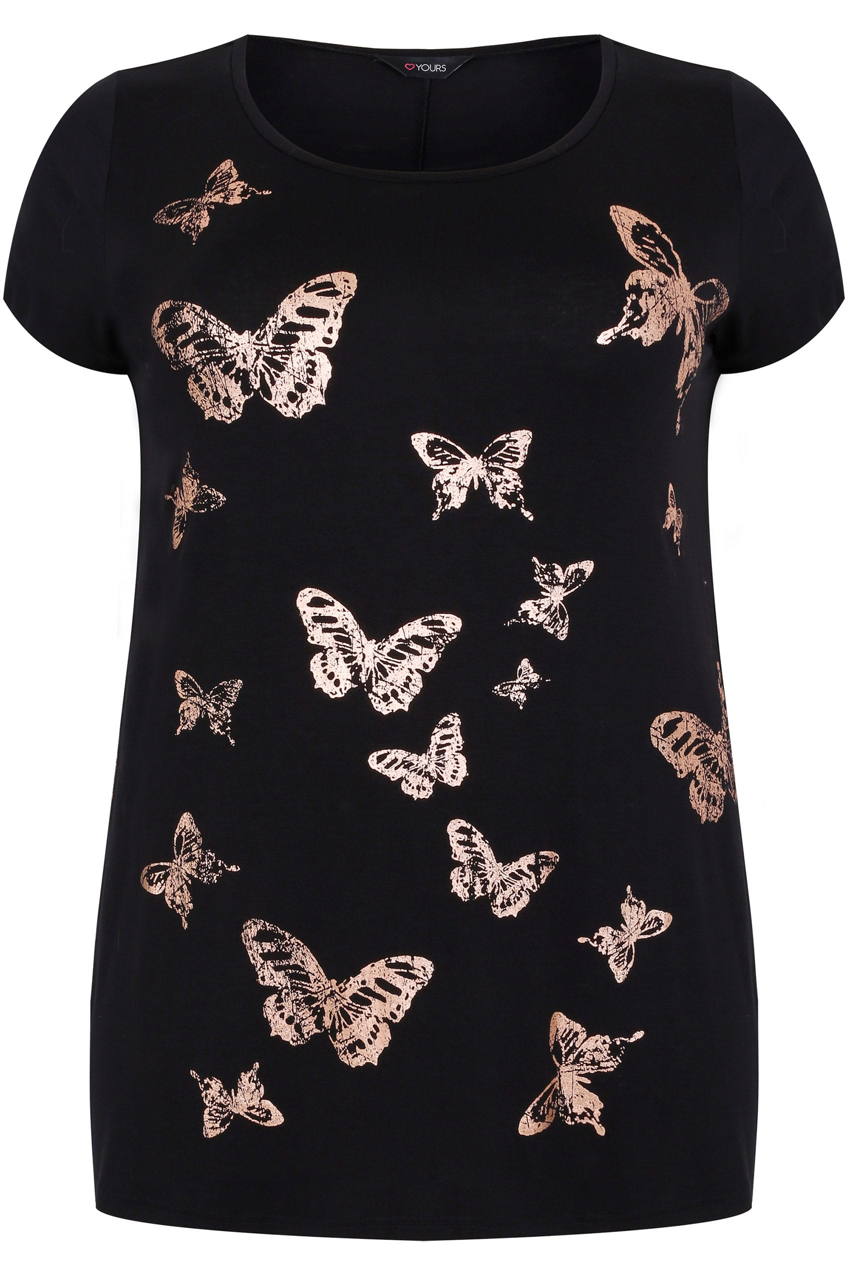 Black copper foil butterfly print t shirt with curved for Quick print t shirts
