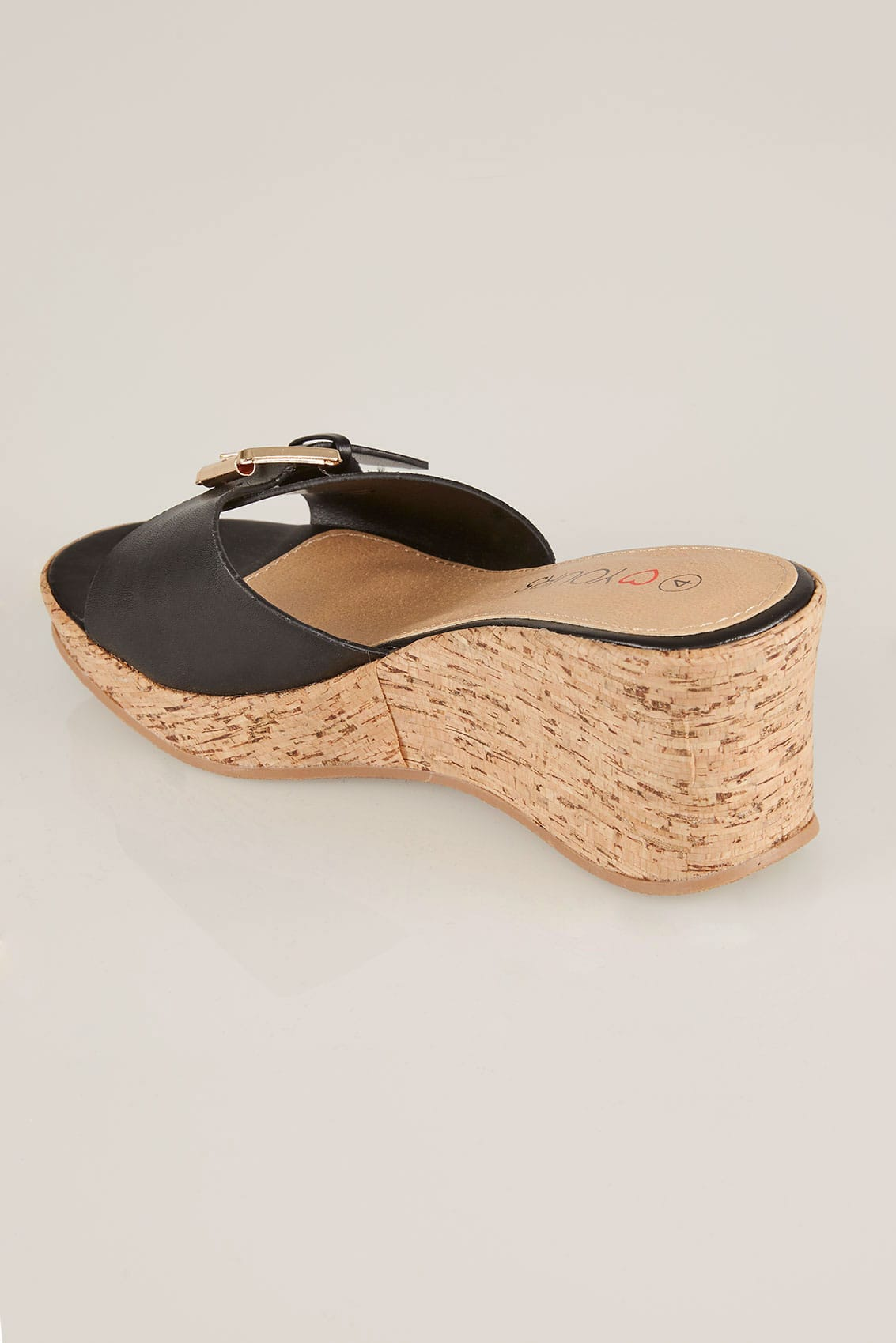 Black Cork Wedges In Eee Fit-4150