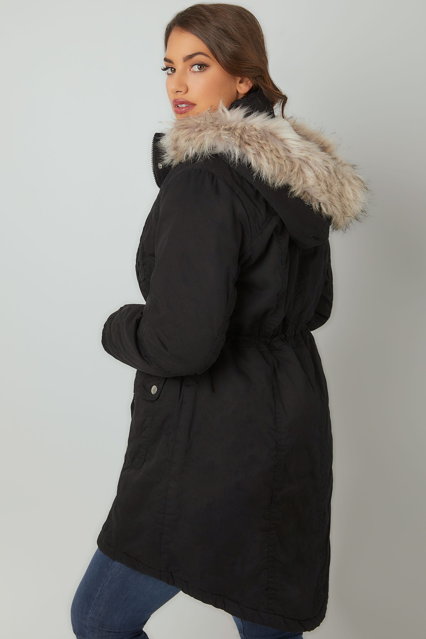 Black Cotton Parka With Faux Fur Trim Hood, Plus size 16 to 36