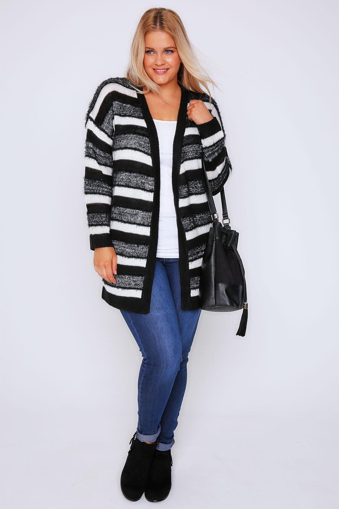 Black & Cream Stripe Knit Longline Cardigan Plus Size 16 to 36