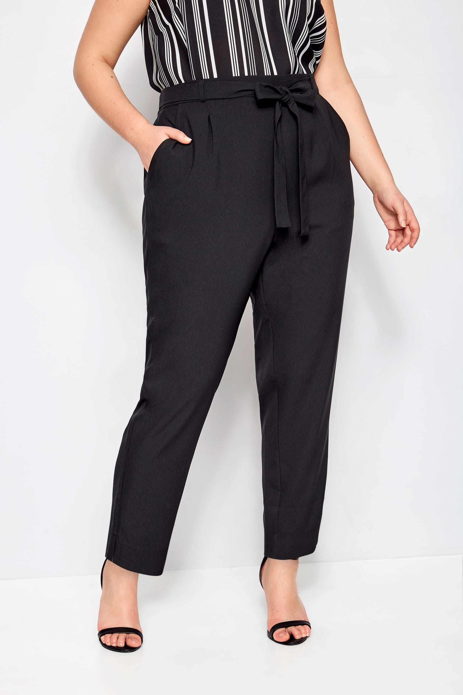 Plus Size Black Crepe Tapered Trousers Sizes 16 To 36