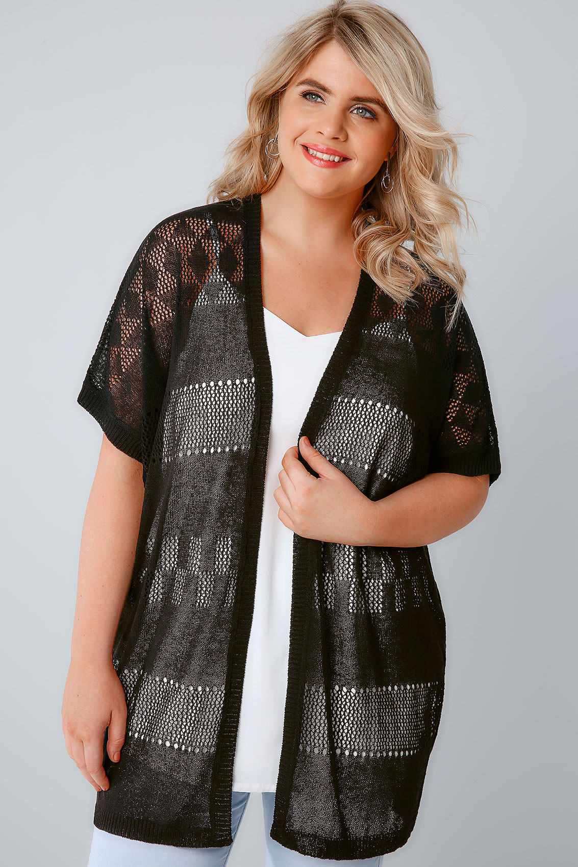 Black Crochet Knit Cardigan With Short Sleeves, Plus size 16 to 36