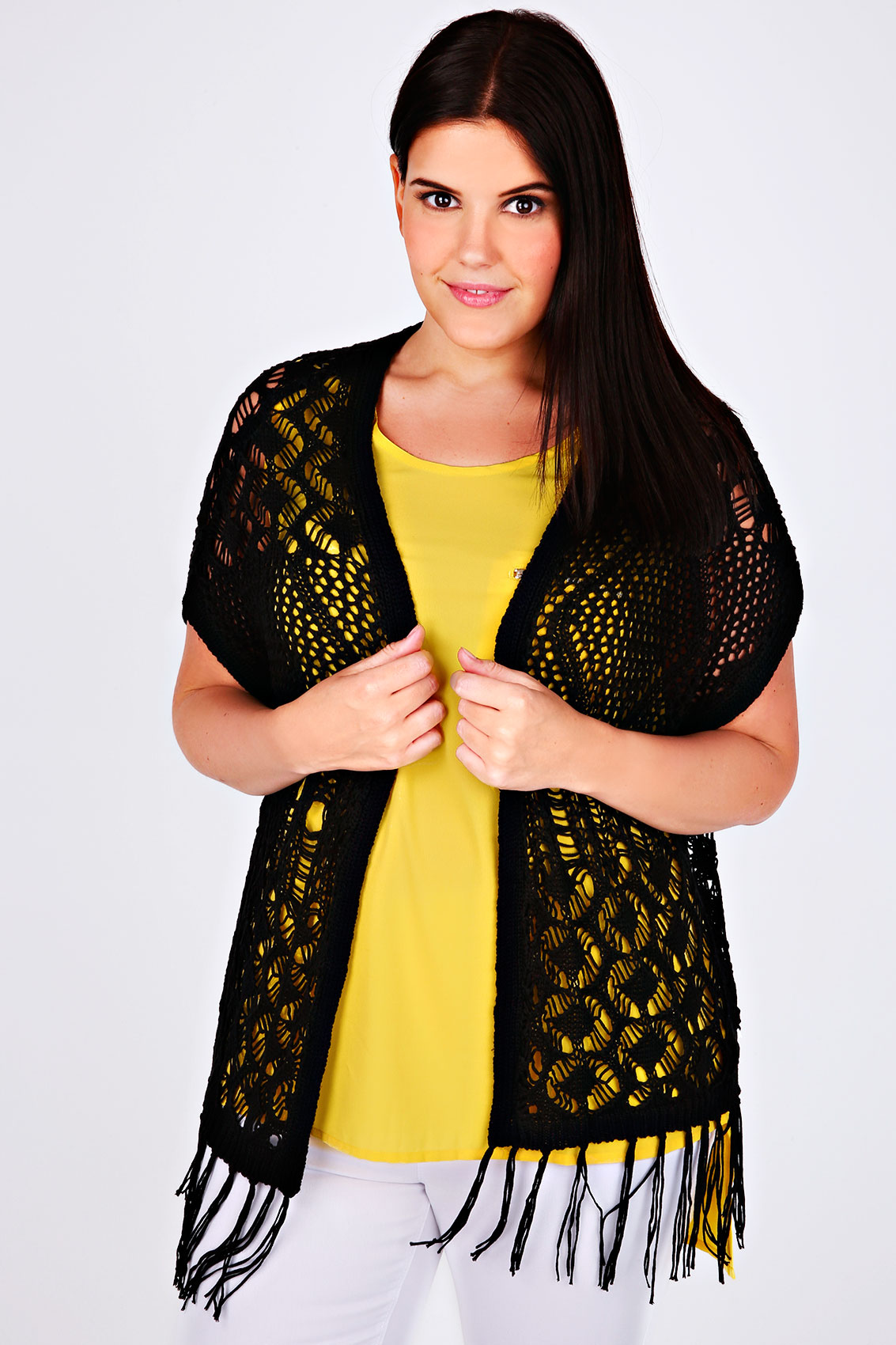 Black Crochet Knit Sleeveless Cardigan With Tassel Hem Plus Size ...