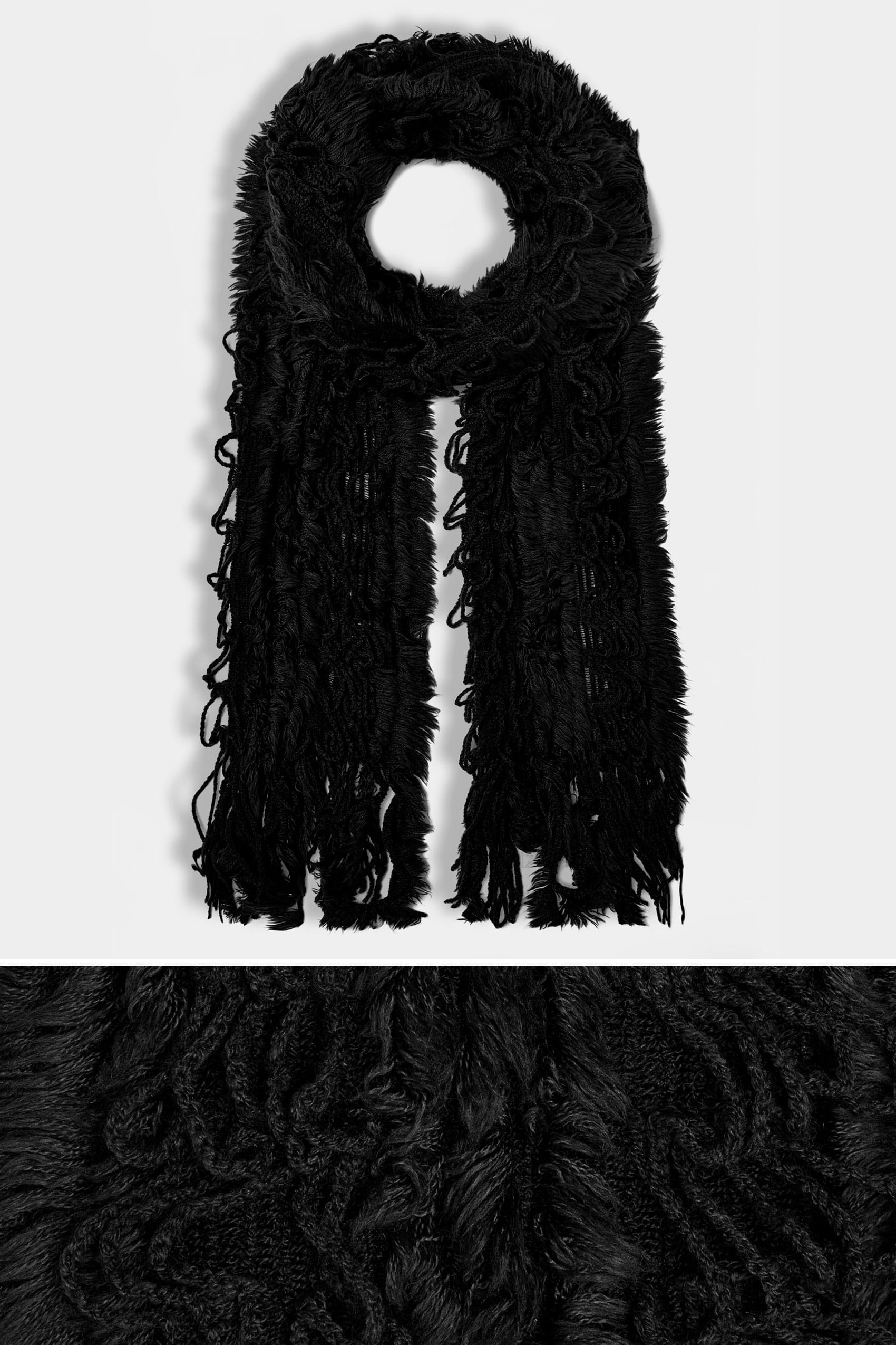 Black crochet scarf with frayed trim for Buy here pay later