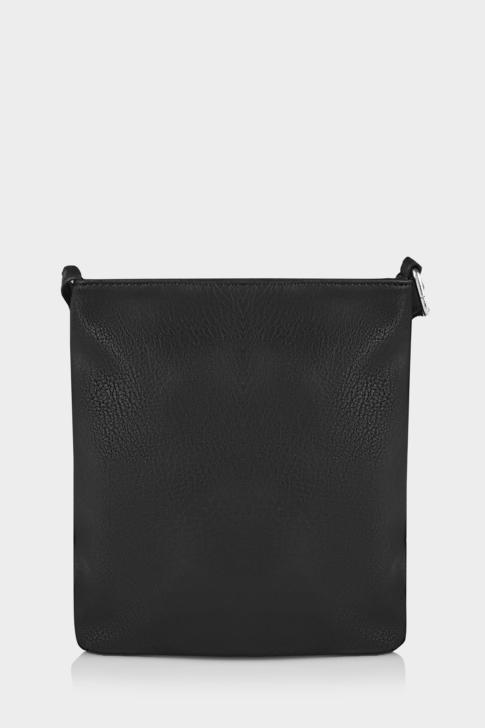 black cross body bag with zip front extended strap. Black Bedroom Furniture Sets. Home Design Ideas