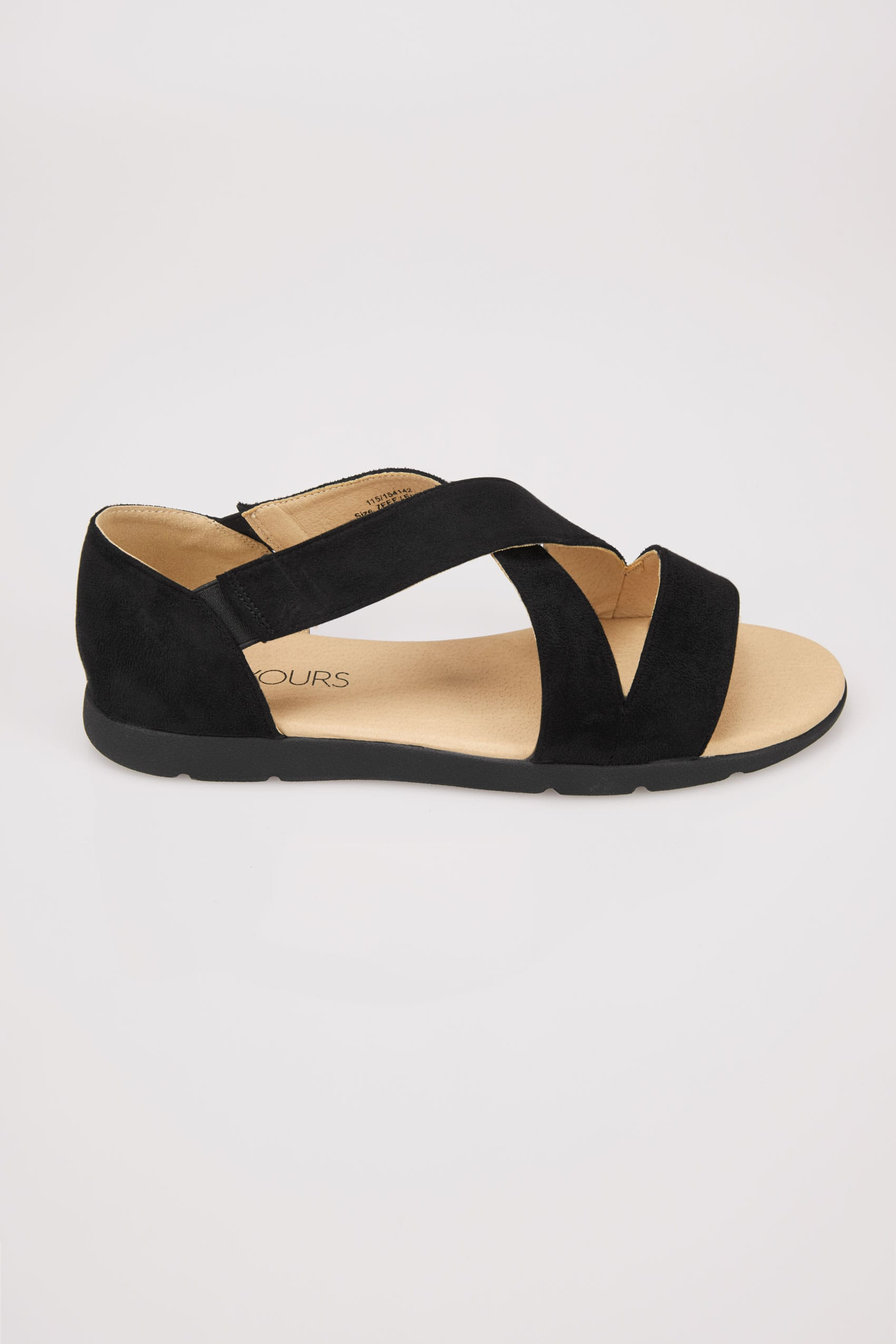 Black cross over strap sandals in true eee fit for Buy here pay later