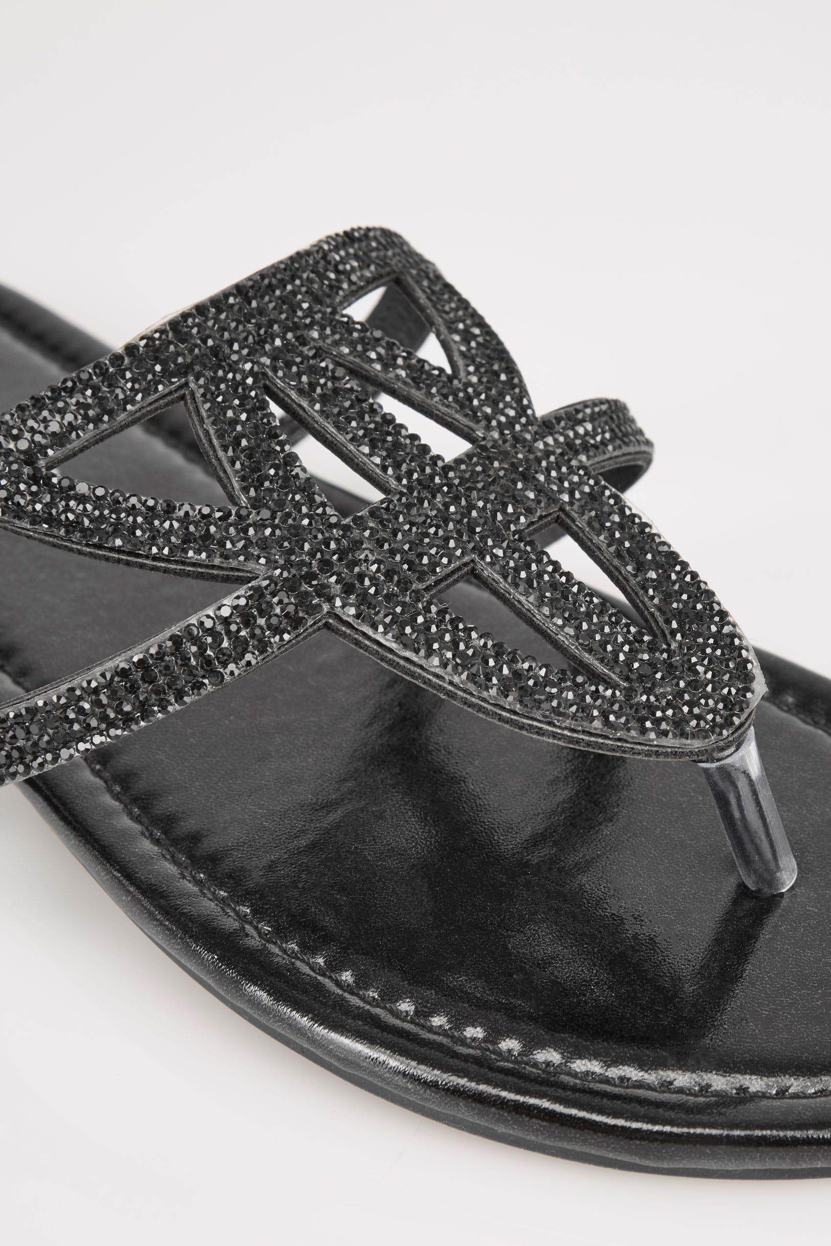Rooms: Black Diamante Sandals In EEE Fit