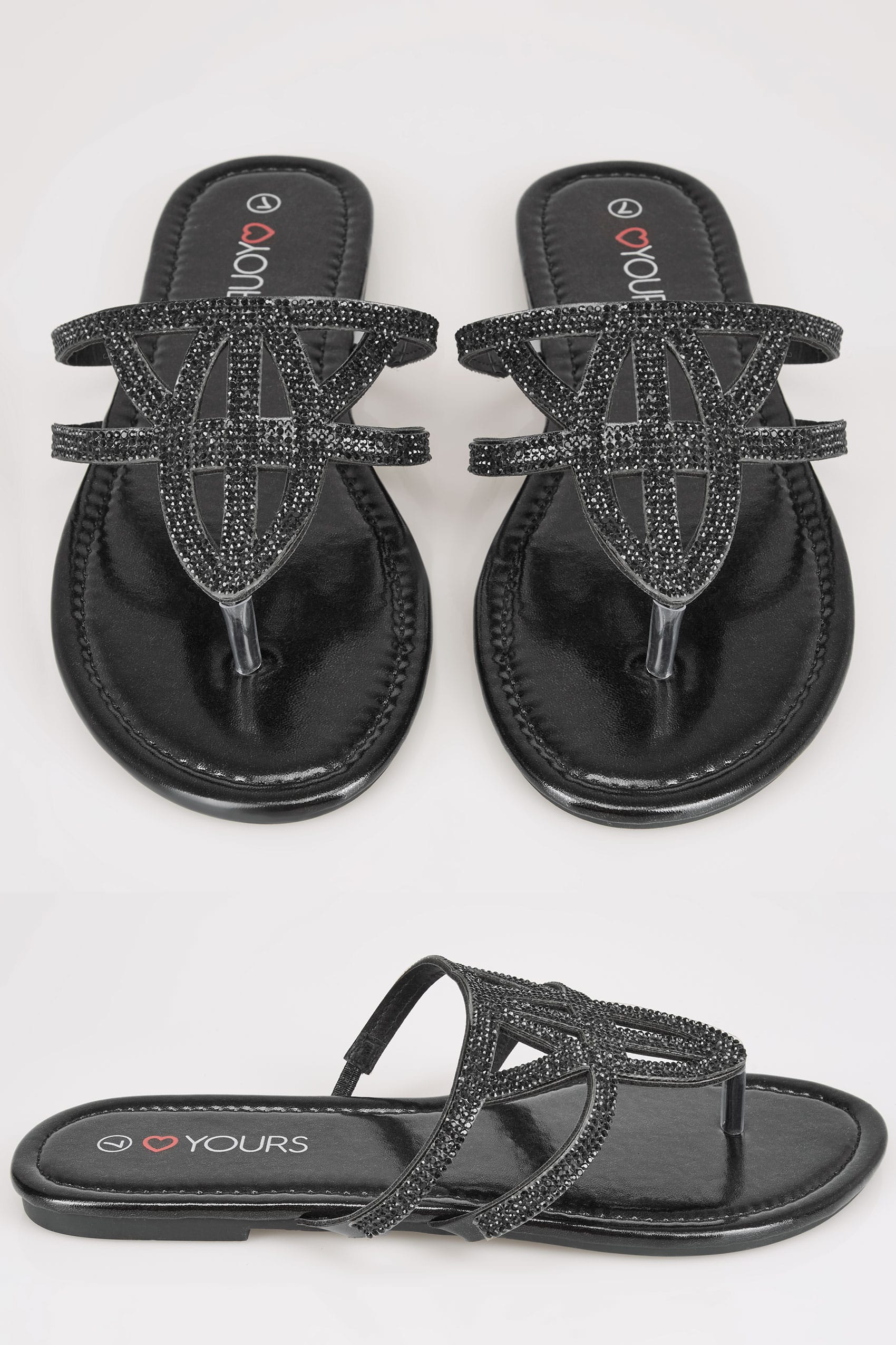 Black diamante embellished sandals with lattice style for Buy here pay later