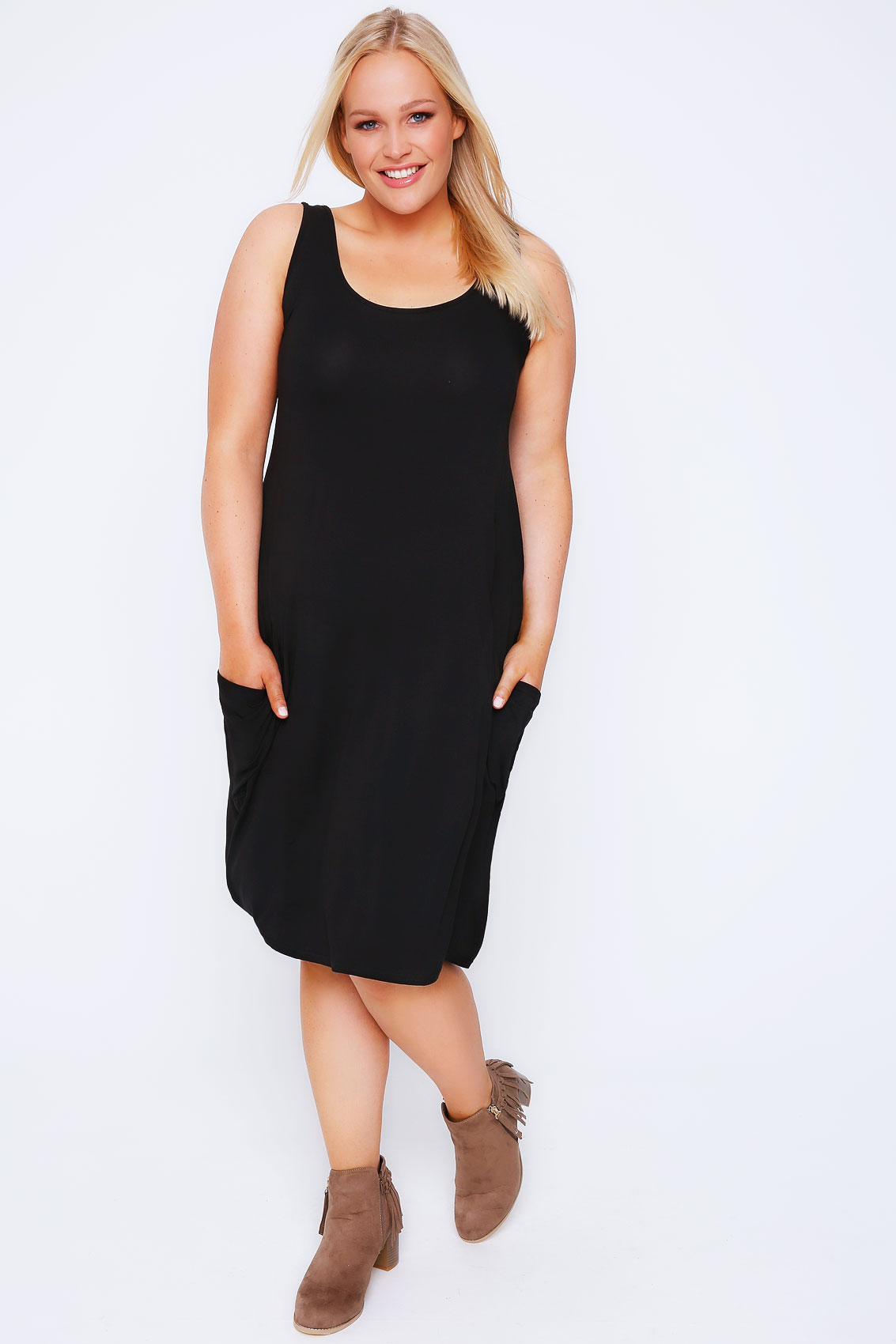 Black Drape Pocket Sleeveless Jersey Dress Plus Size 14 to 32