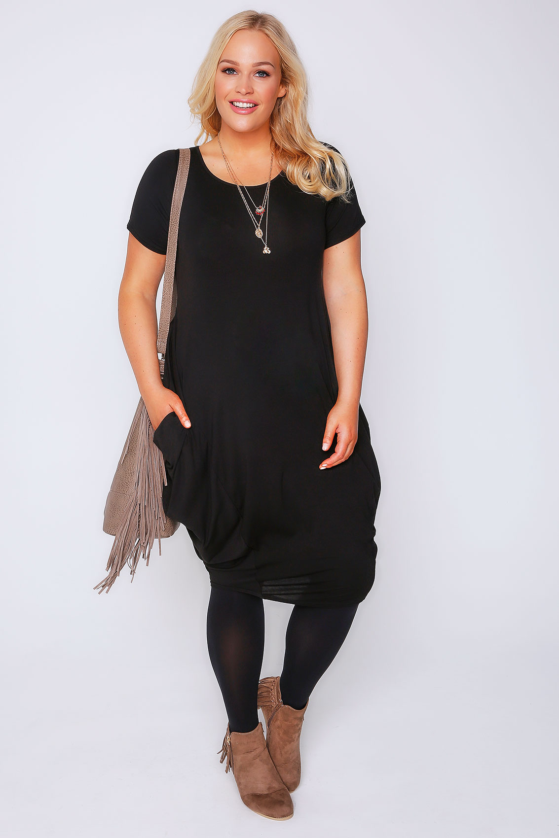 Black Drape Side Jersey Dress Plus Size 16 to 32