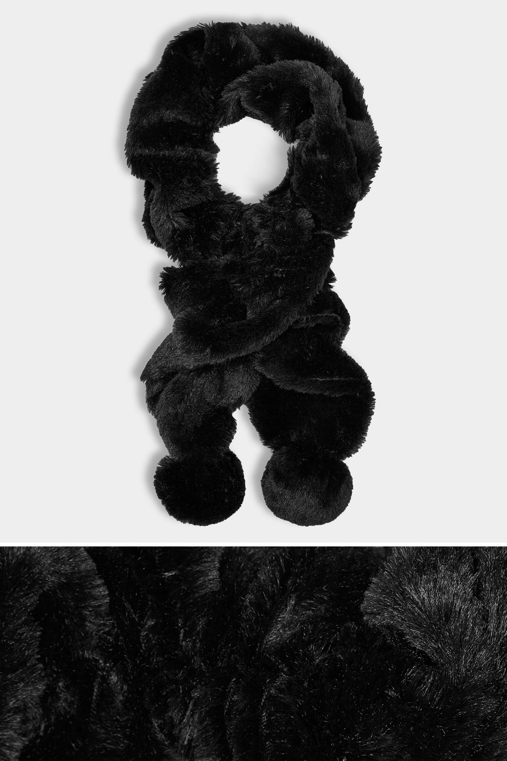 Black elasticated faux fur scarf for Buy here pay later