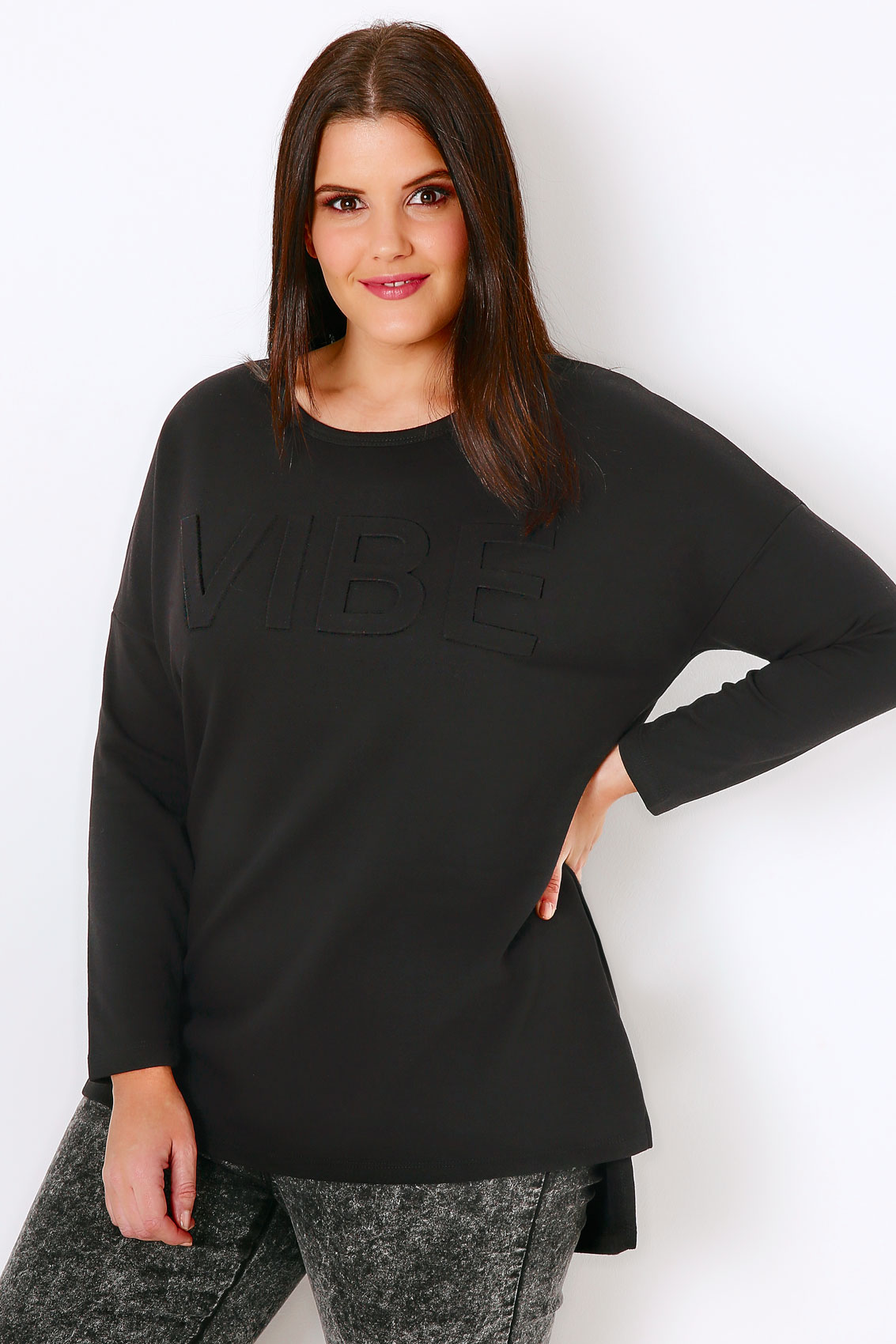 black embossed vibe sweat top with step hem plus size 16 to 36. Black Bedroom Furniture Sets. Home Design Ideas