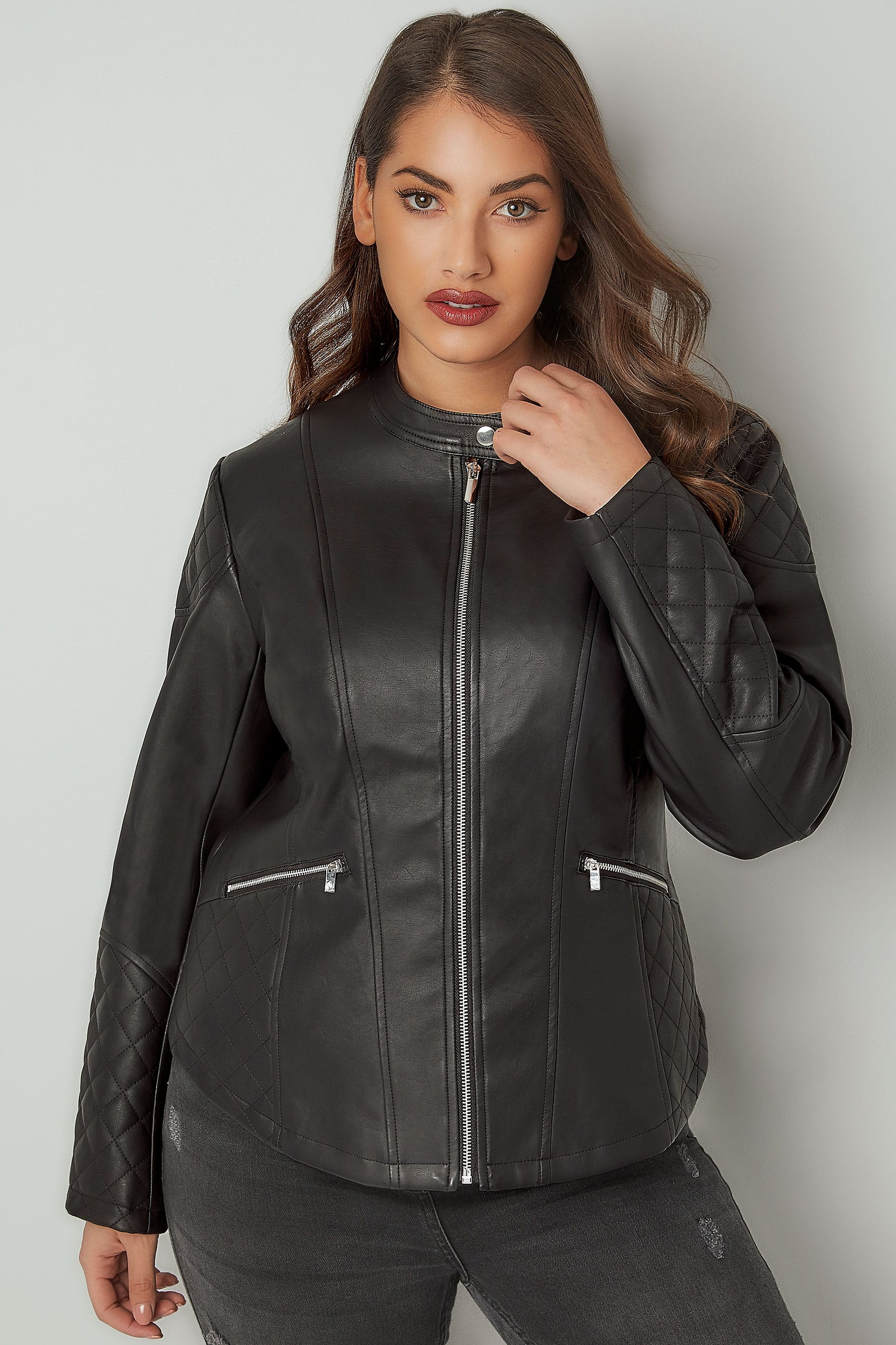 Black faux leather jacket with quilted shoulders plus size 16 to 36 - Div class background color ...