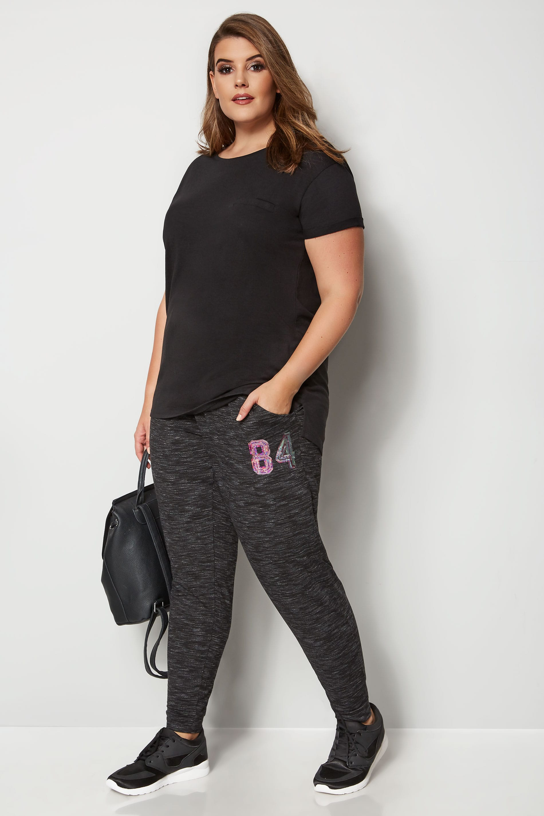 Black Sequin Joggers Plus Size 16 To 36