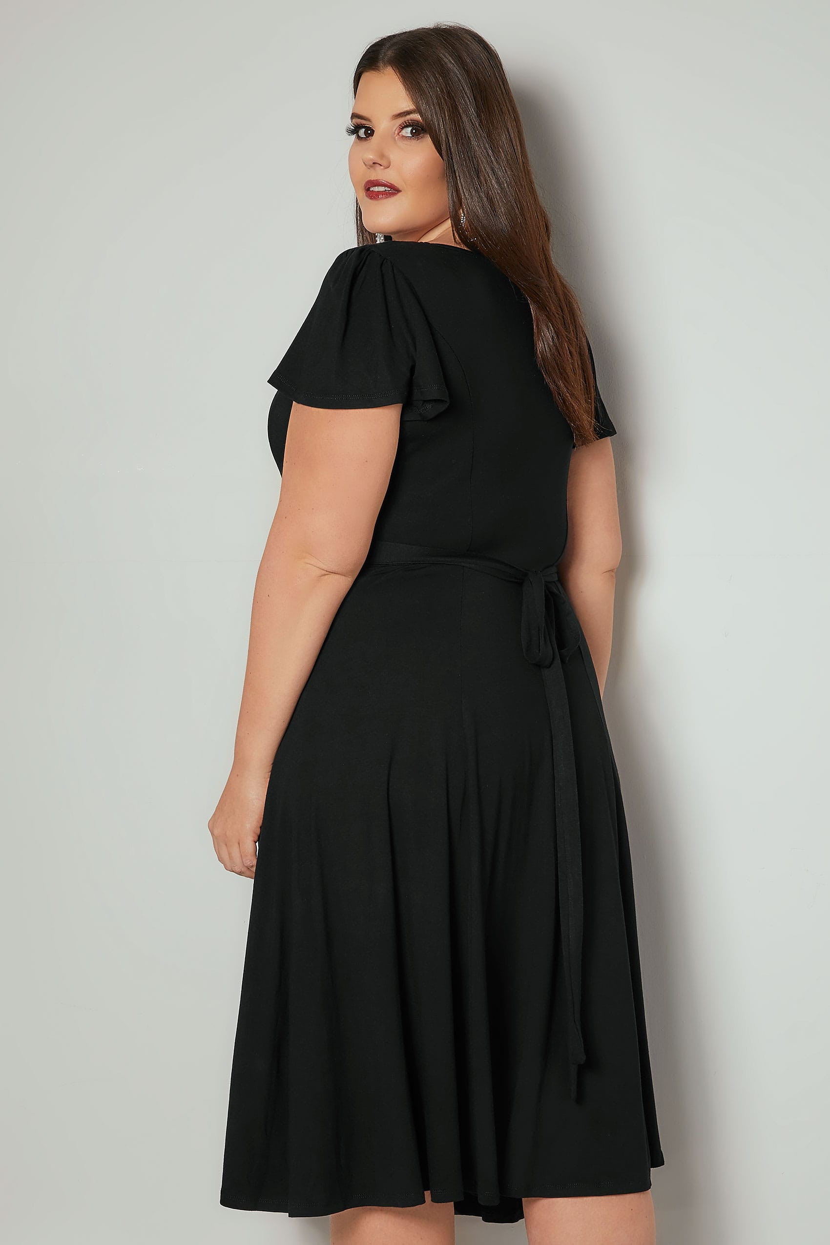 04f8ac1cafd Black Fit   Flare Skater Dress With Tie Waist   Flute Sleeves