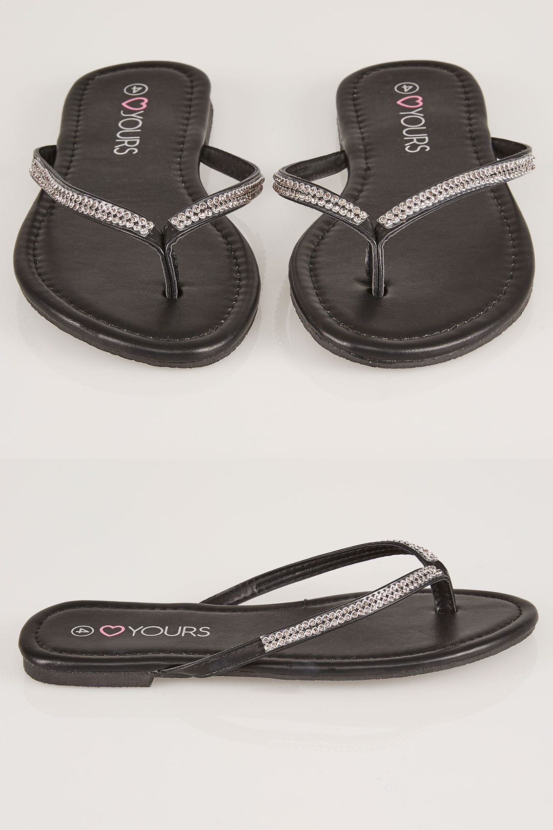 Black Diamante Flip Flops In True Eee Fit-4058