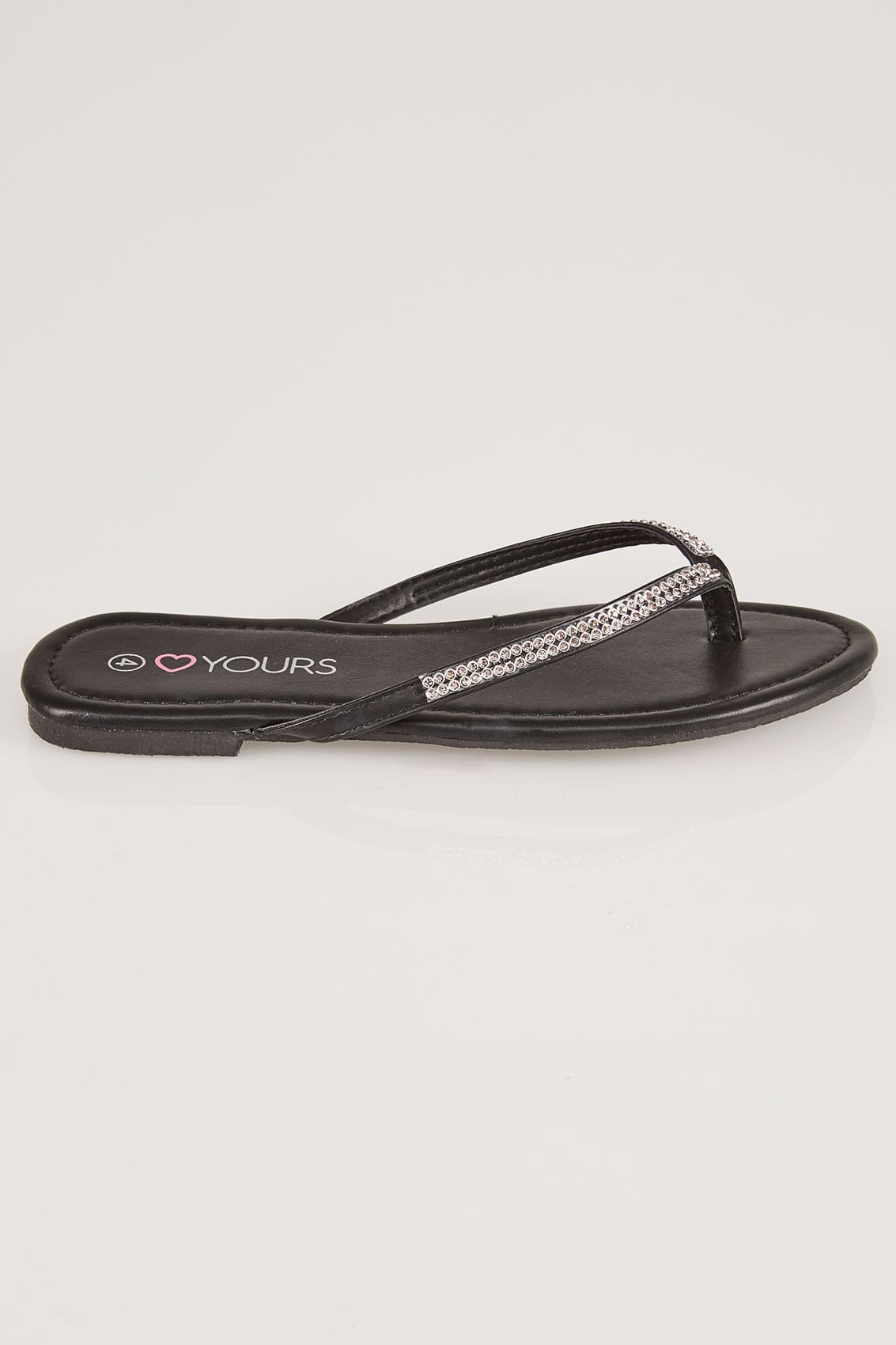 Black Diamante Flip Flops In True Eee Fit-7508