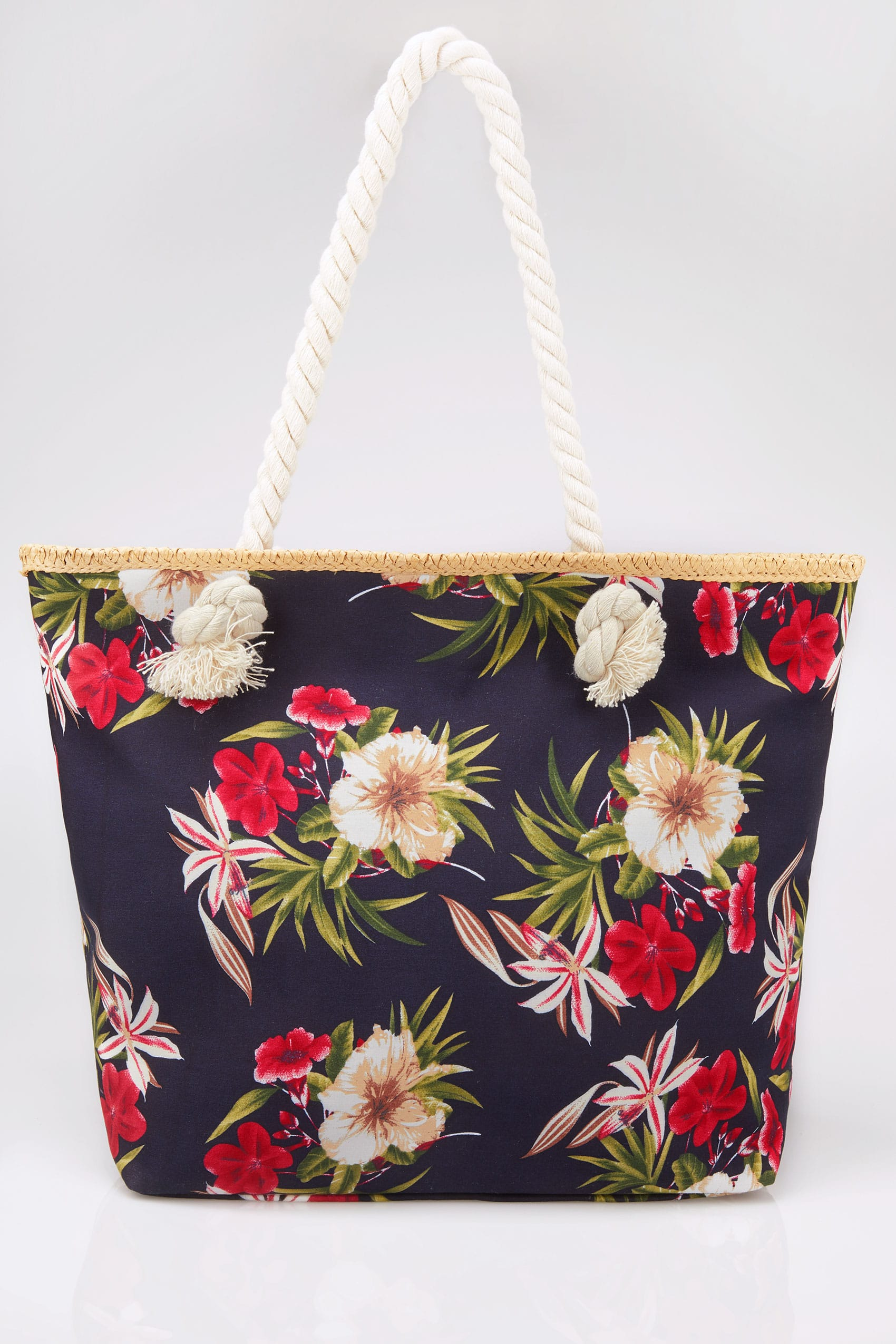 Navy floral print beach bag for Supermarket bag packing letter template