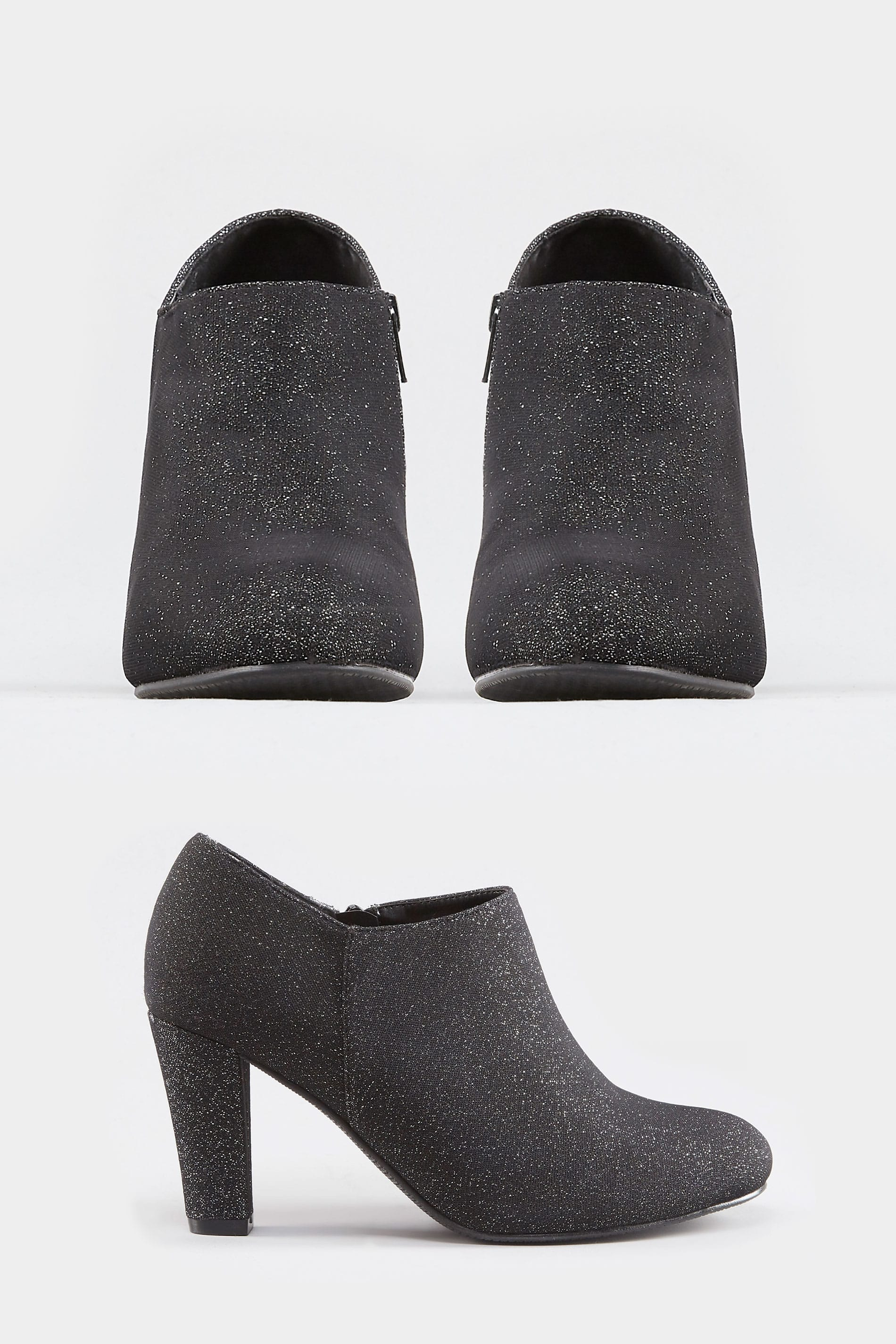 845e841a84be Black Glitter Boot Heels In EEE Fit