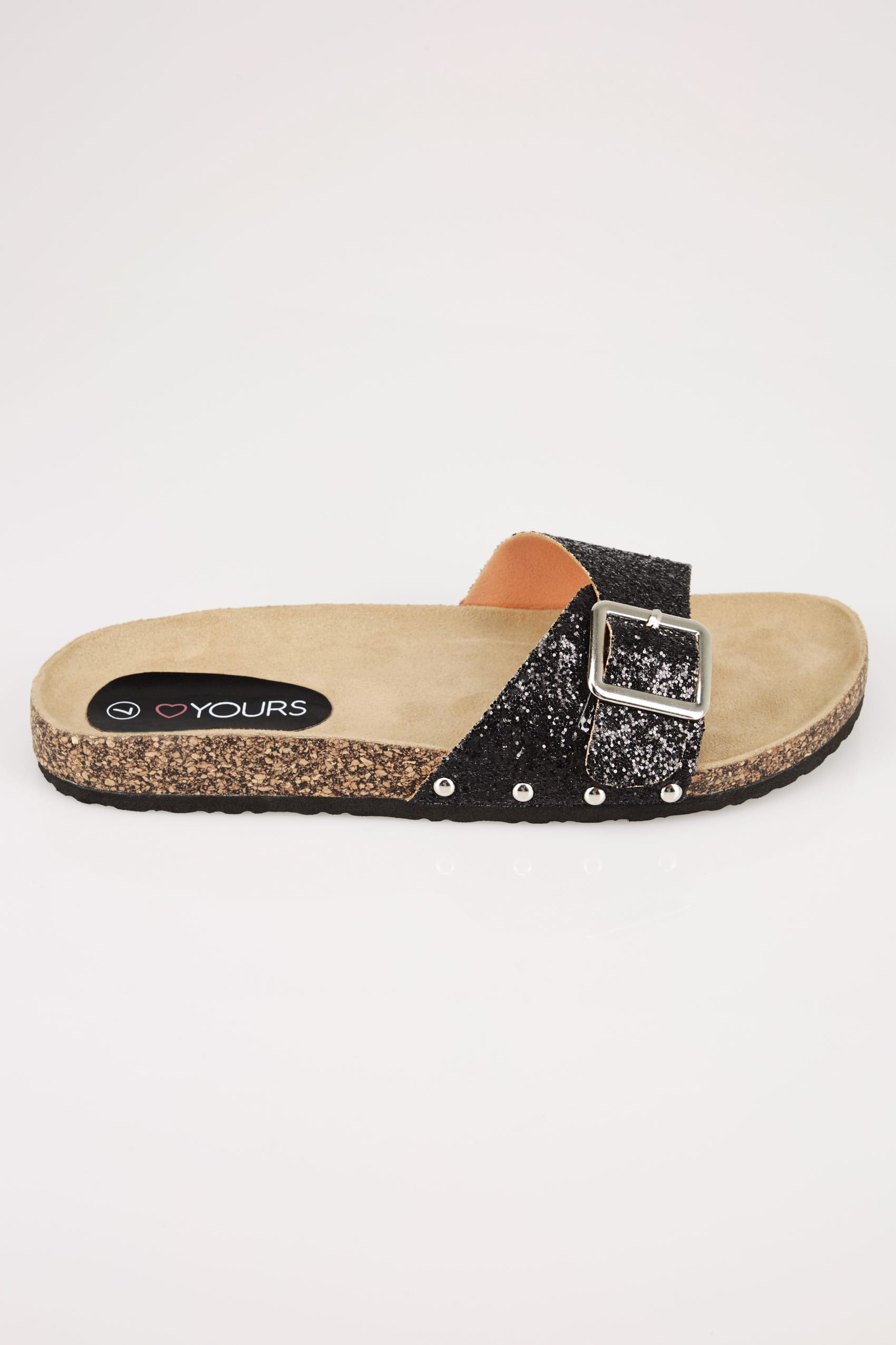 Black Glitter Cork Effect Sandals In Eee Fit-8537