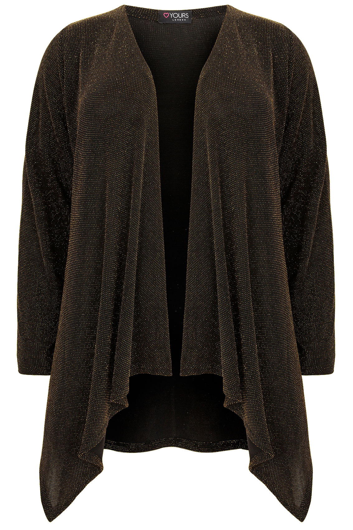 Black & Gold Sparkle Waterfall Cardigan, Plus size 16 to 32